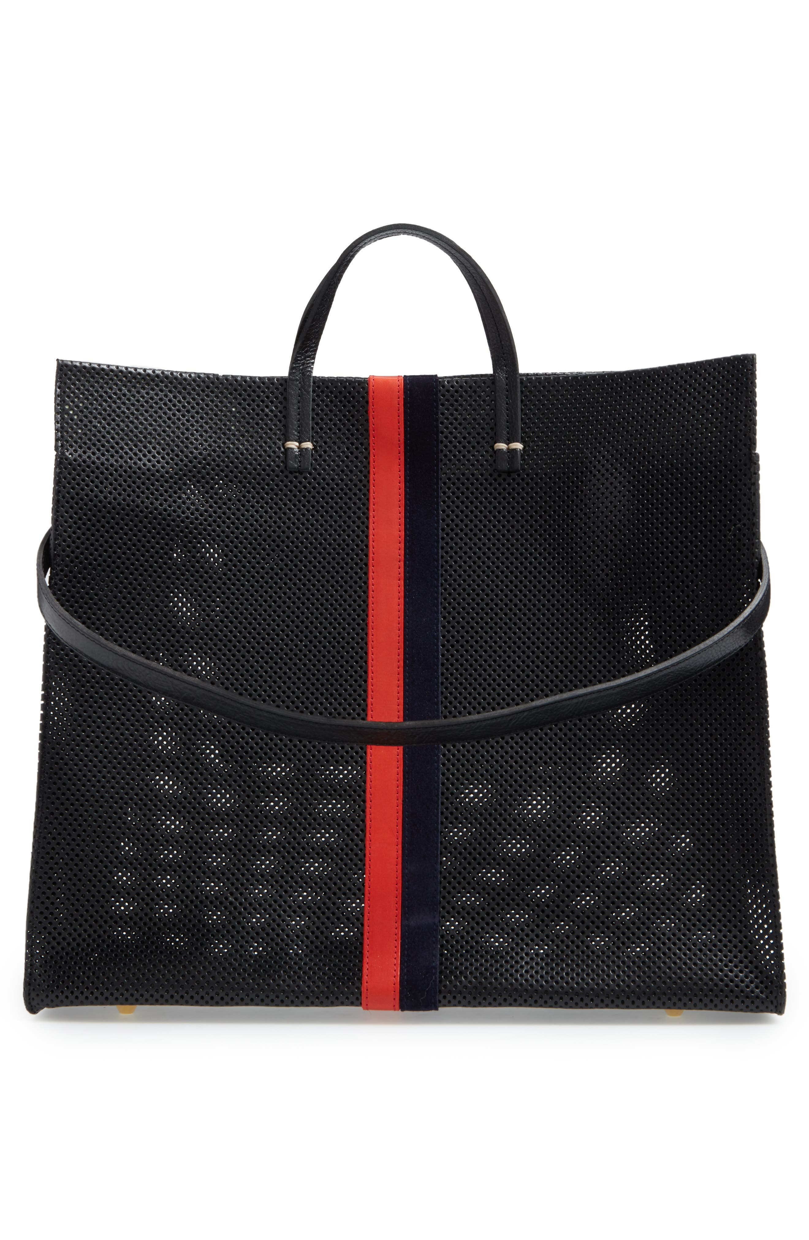 Simple Perforated Leather Tote,                             Alternate thumbnail 3, color,                             001