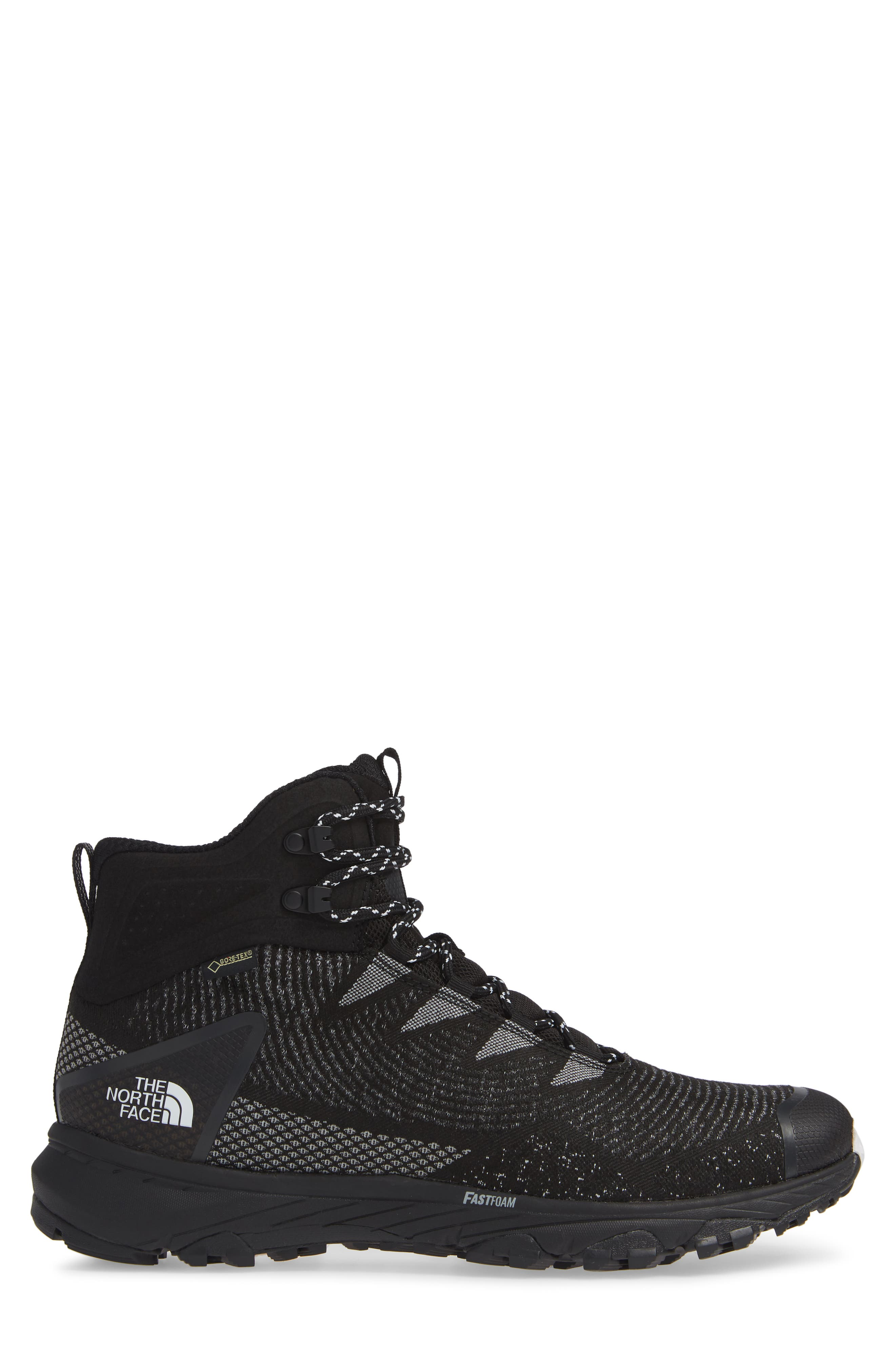 Ultra Fastpack III Mid Gore-Tex<sup>®</sup> Hiking Boot,                             Alternate thumbnail 3, color,                             BLACK/ WHITE