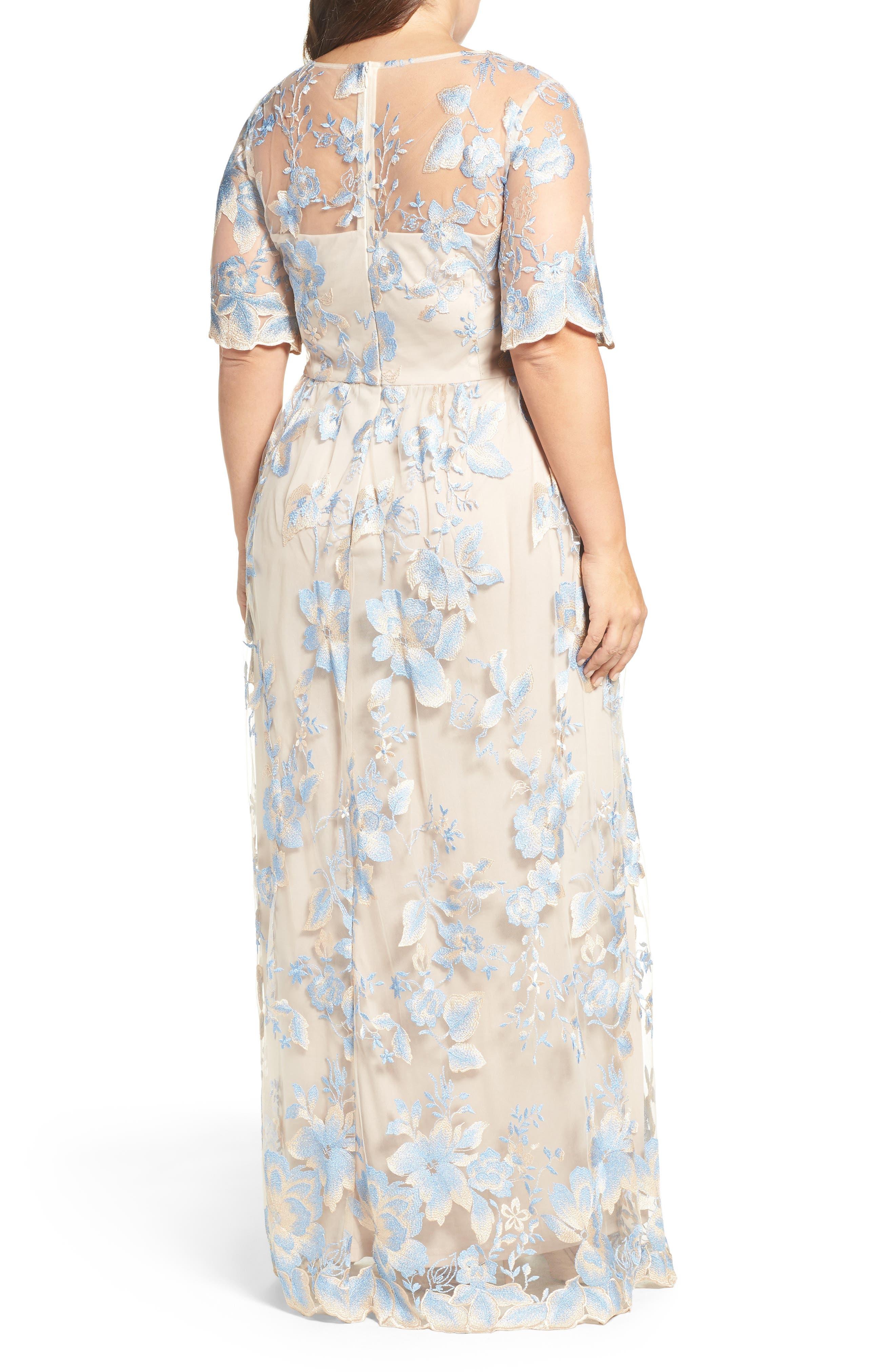 Illusion Lace Gown,                             Alternate thumbnail 3, color,                             298