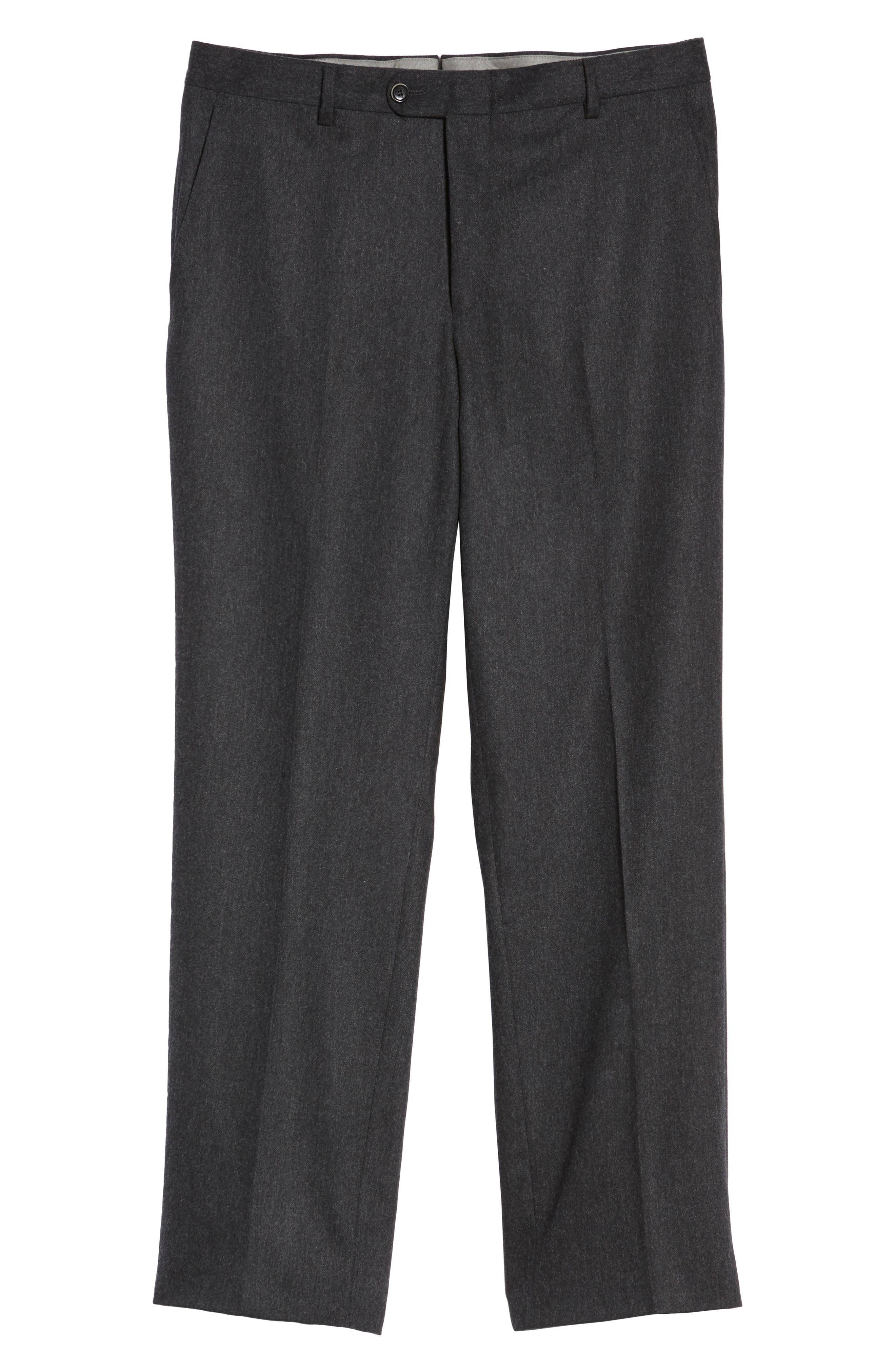 Classic B Fit Flat Front Solid Wool Blend Trousers,                             Alternate thumbnail 6, color,