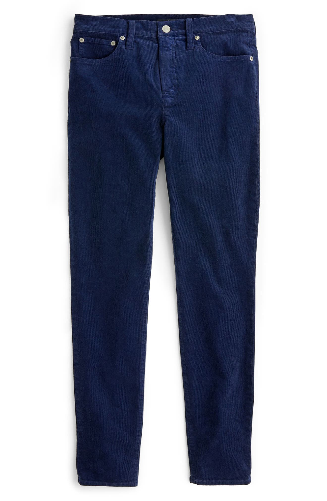 High Rise Toothpick Corduroy Jeans in Navy