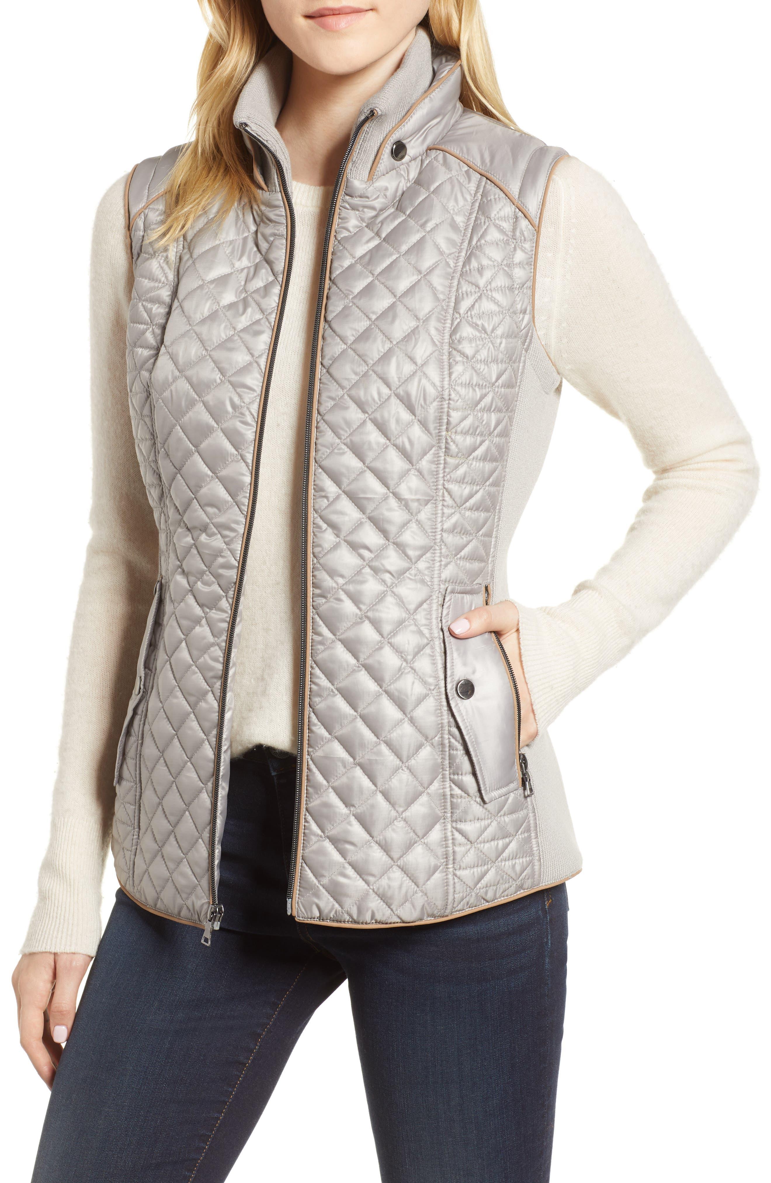 Quilted & Knit Vest,                         Main,                         color, PLATINUM