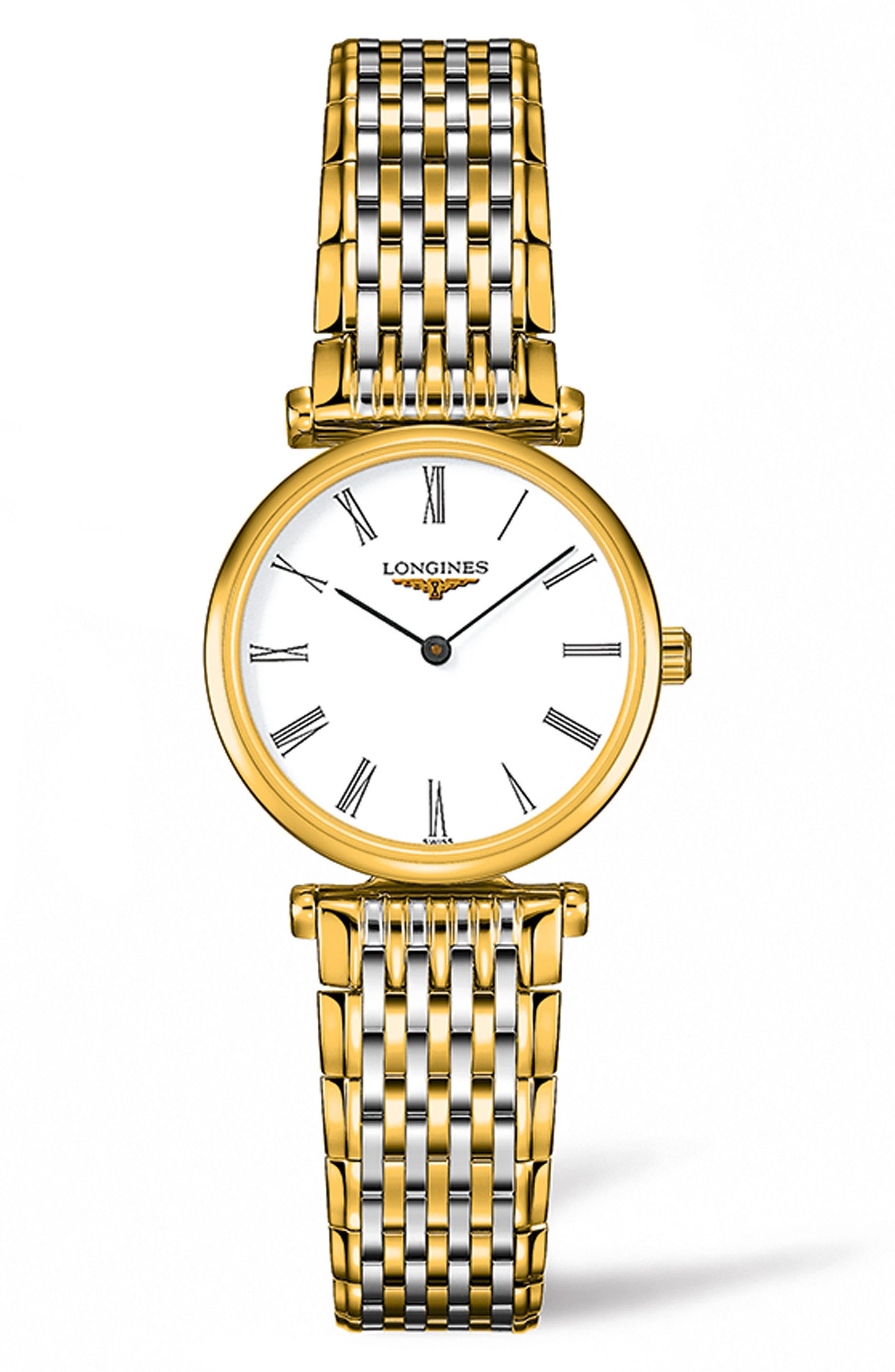 La Grande Classique de Longines Bracelet Watch, 24mm,                             Main thumbnail 1, color,                             GOLD/ WHITE/ GOLD