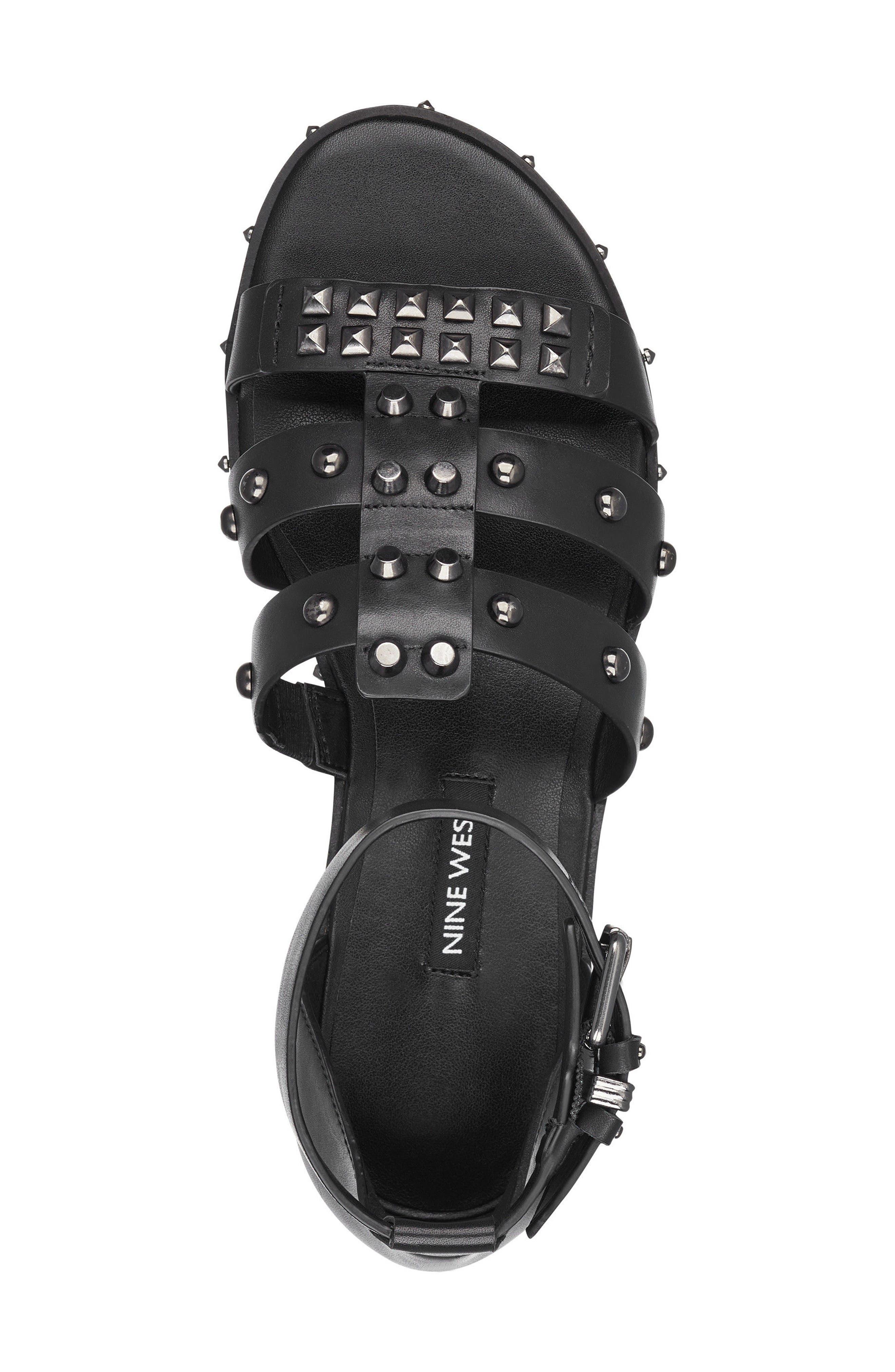 Corisande Sandal,                             Alternate thumbnail 5, color,                             BLACK LEATHER