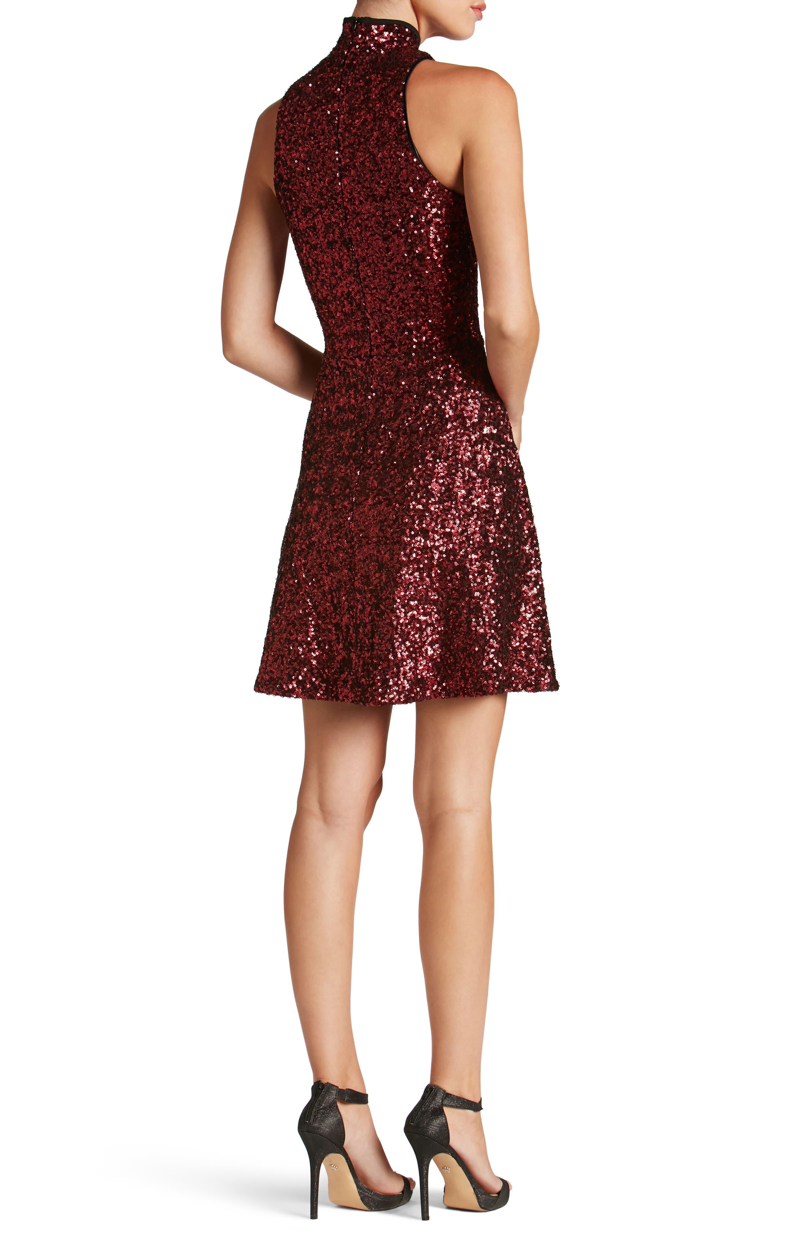 Stevie Sequin Fit & Flare Dress,                             Alternate thumbnail 5, color,