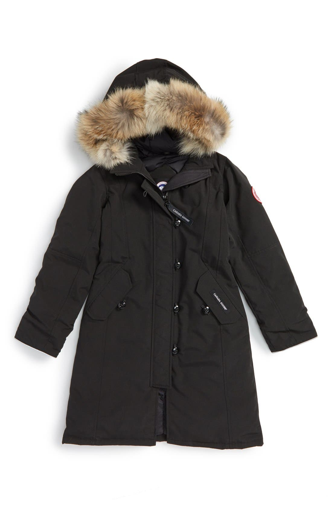 'Brittania' Down Parka with Genuine Coyote Fur Trim,                             Main thumbnail 1, color,                             BLACK