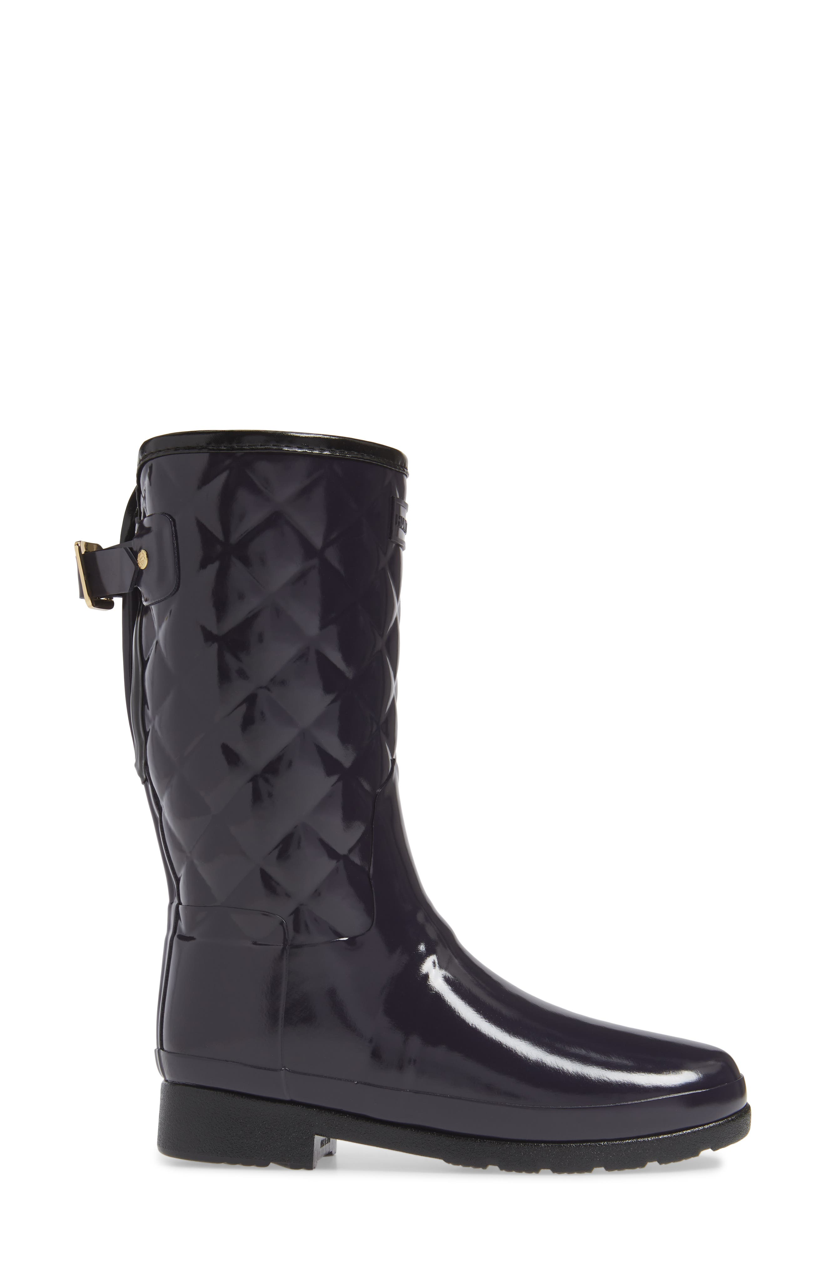Refined High Gloss Quilted Short Waterproof Rain Boot,                             Alternate thumbnail 3, color,                             AUBERGINE