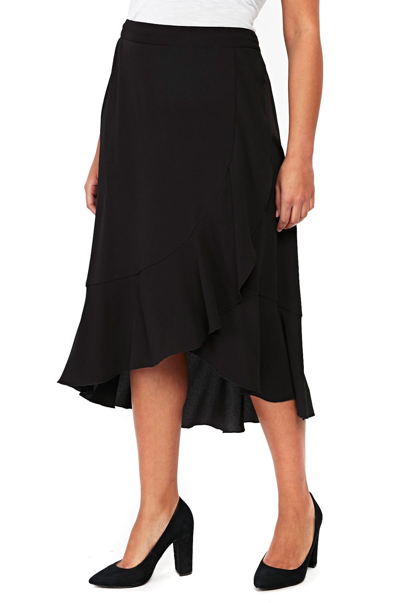 Ruffle Midi Skirt,                             Main thumbnail 1, color,                             001