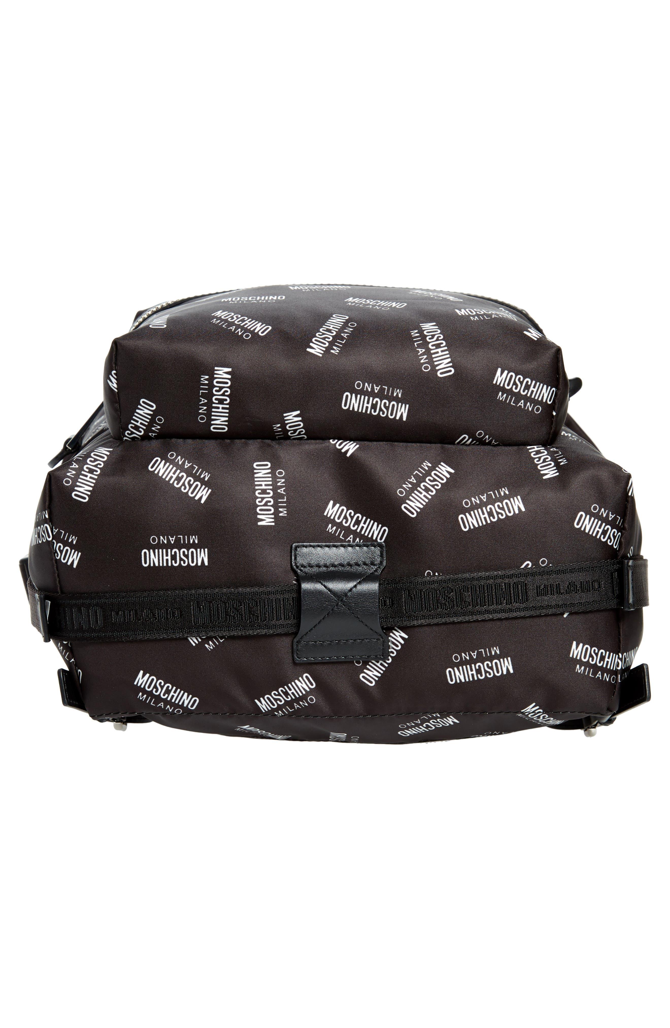 MOSCHINO,                             Allover Logo Print Backpack,                             Alternate thumbnail 6, color,                             BLACK