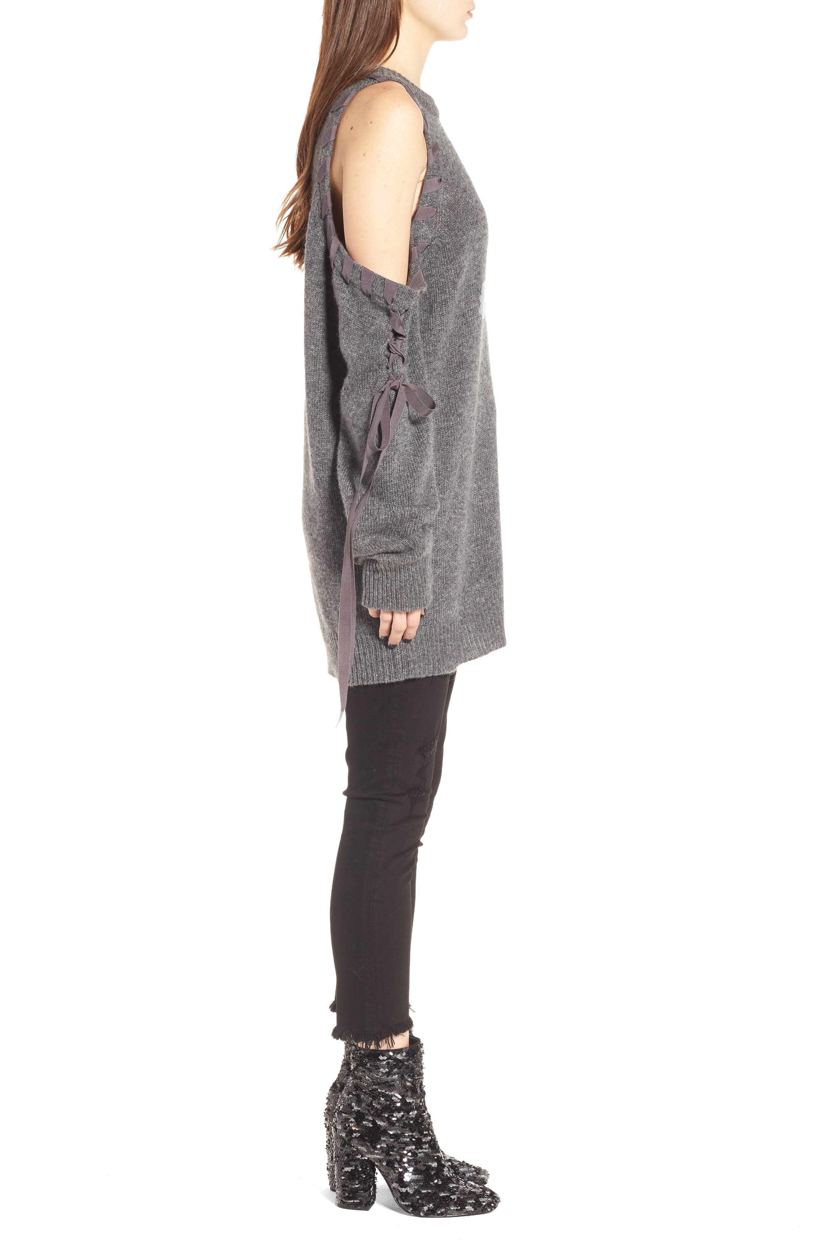 Lace-Up Cold Shoulder Minidress,                             Alternate thumbnail 3, color,
