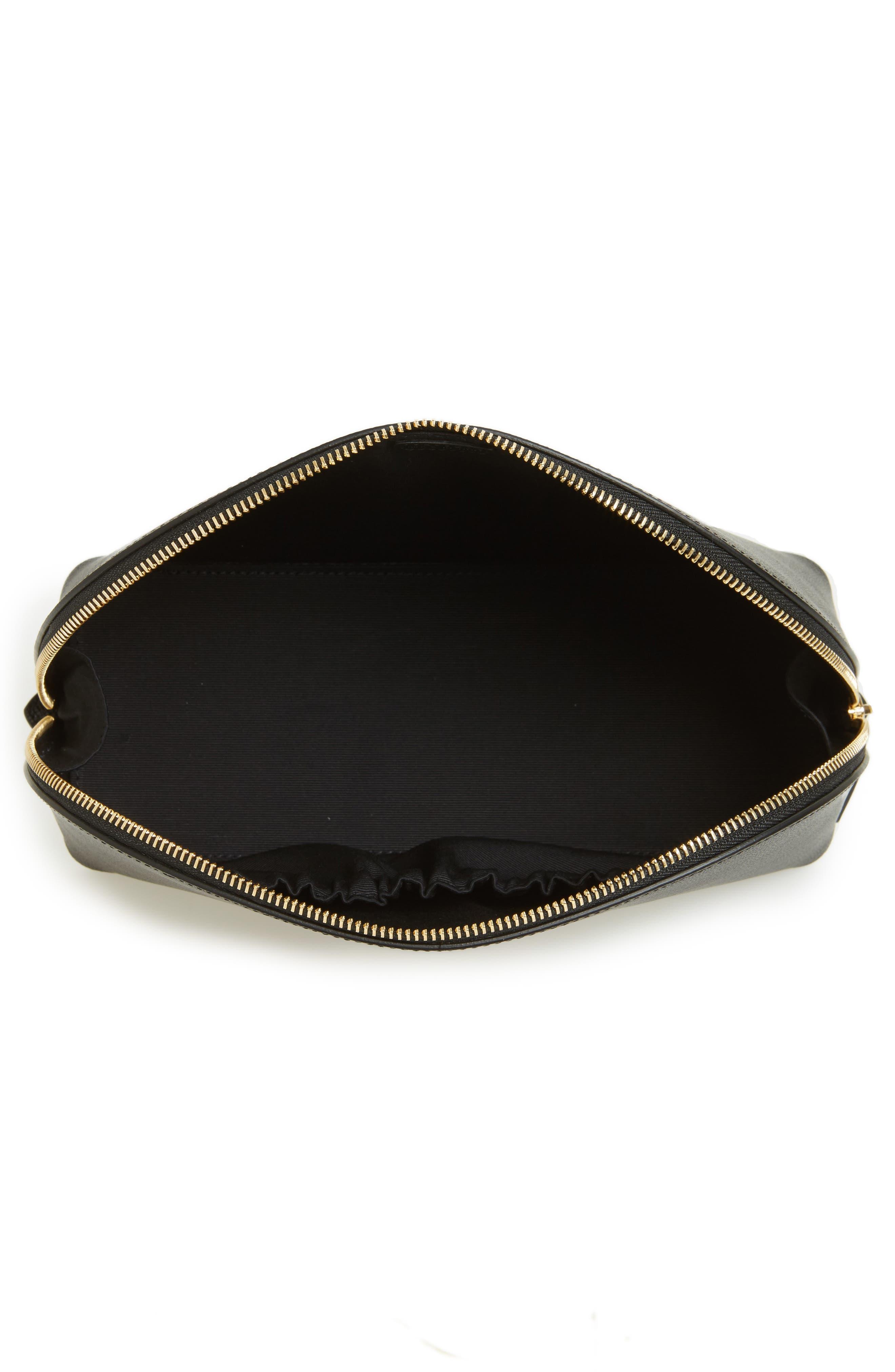 Medium Leather Cosmetics Bag,                             Alternate thumbnail 4, color,                             BLACK