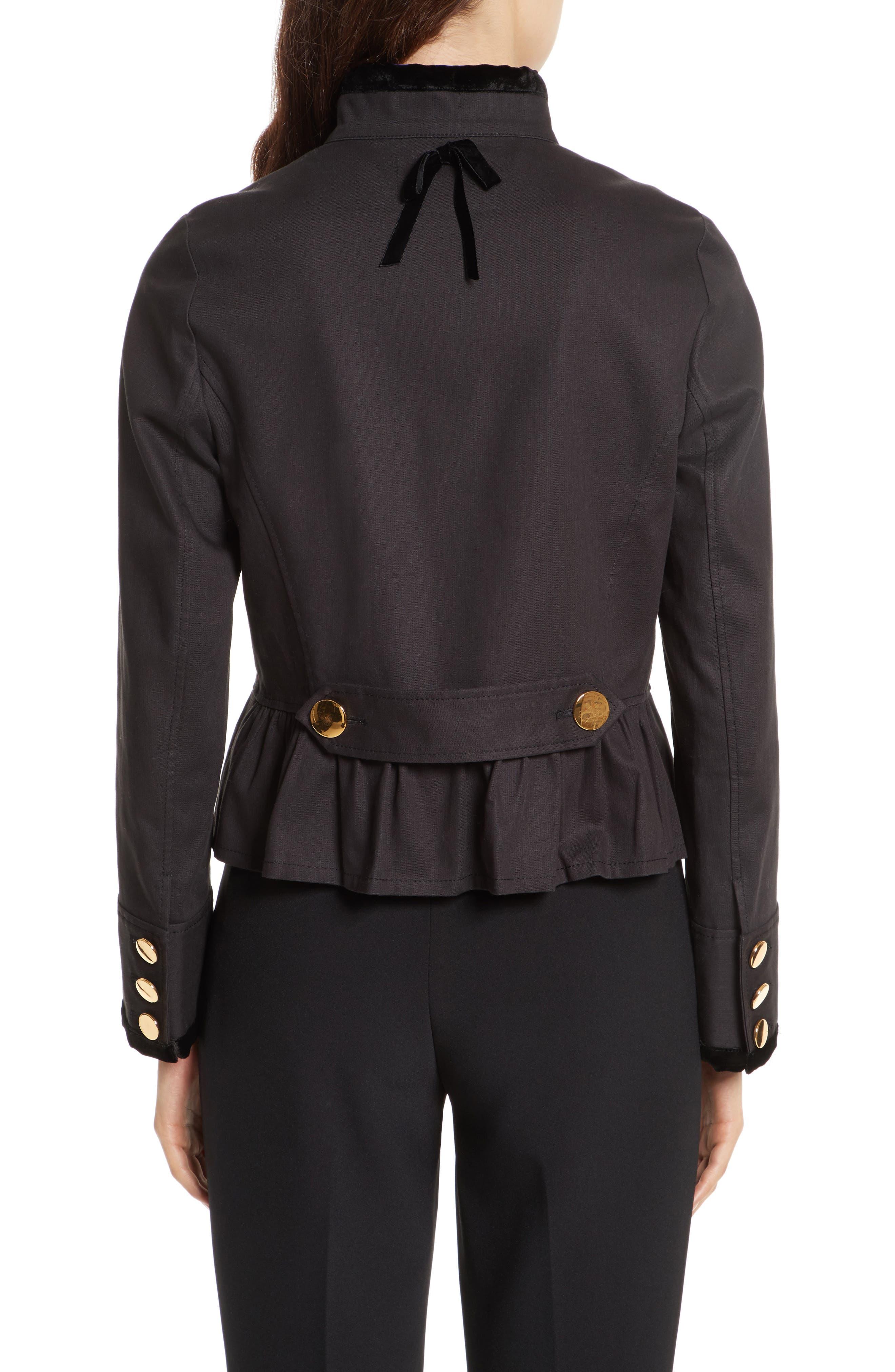 velvet trim military jacket,                             Alternate thumbnail 2, color,                             001