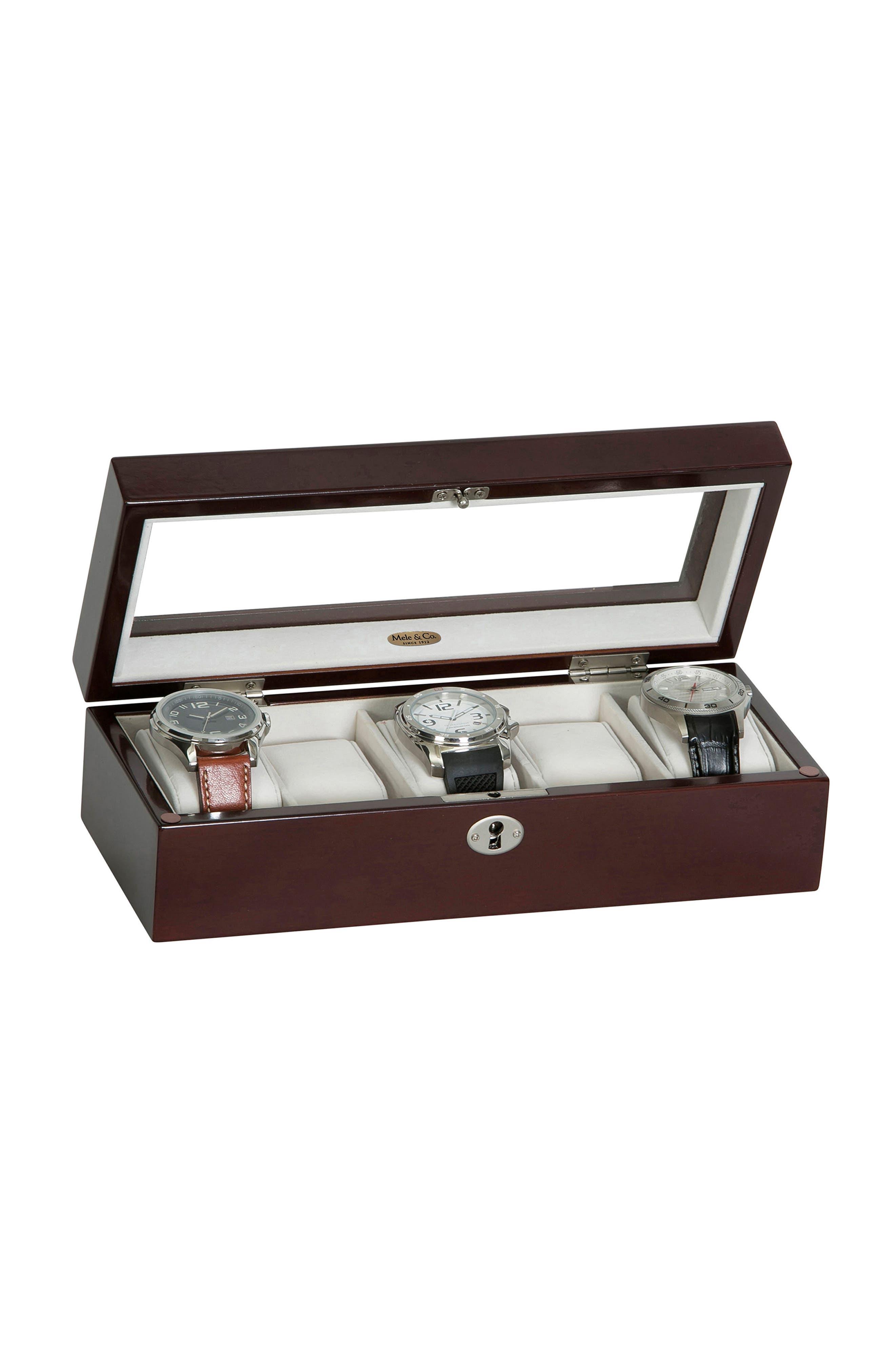 Macon Locking Watch Box,                             Alternate thumbnail 3, color,                             BROWN