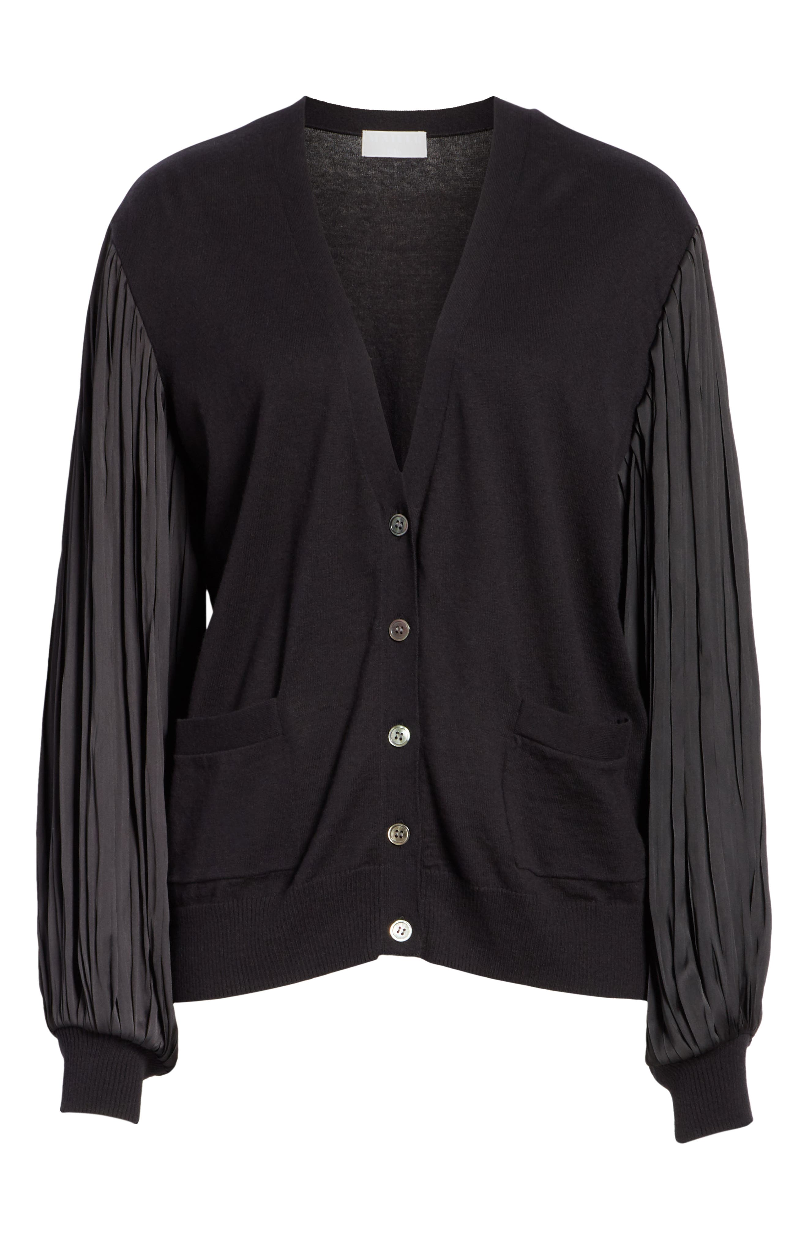 Pleated Balloon Sleeve Cotton Cashmere Cardigan,                             Alternate thumbnail 6, color,                             BLACK