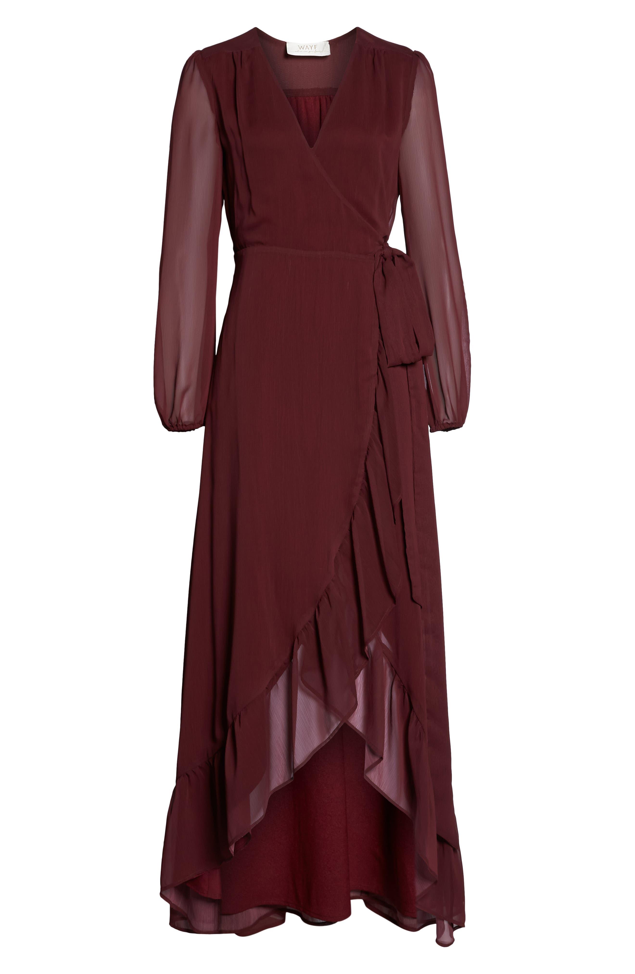 Meryl Long Sleeve Wrap Maxi Dress,                             Alternate thumbnail 7, color,                             CABERNET