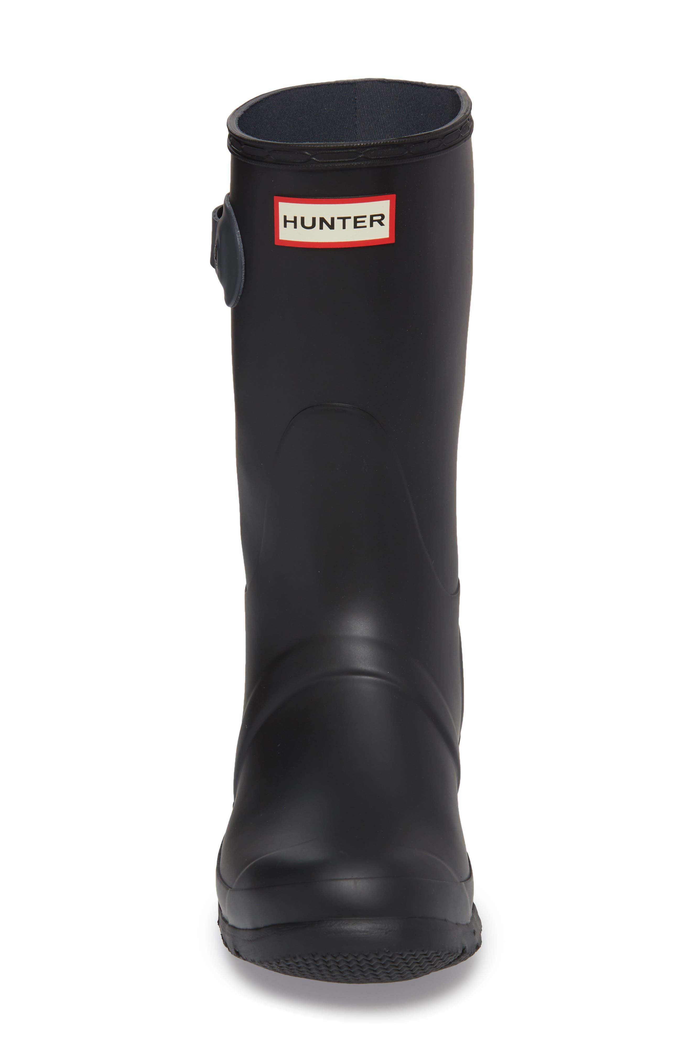 HUNTER,                             Original Short Waterproof Rain Boot,                             Alternate thumbnail 4, color,                             001