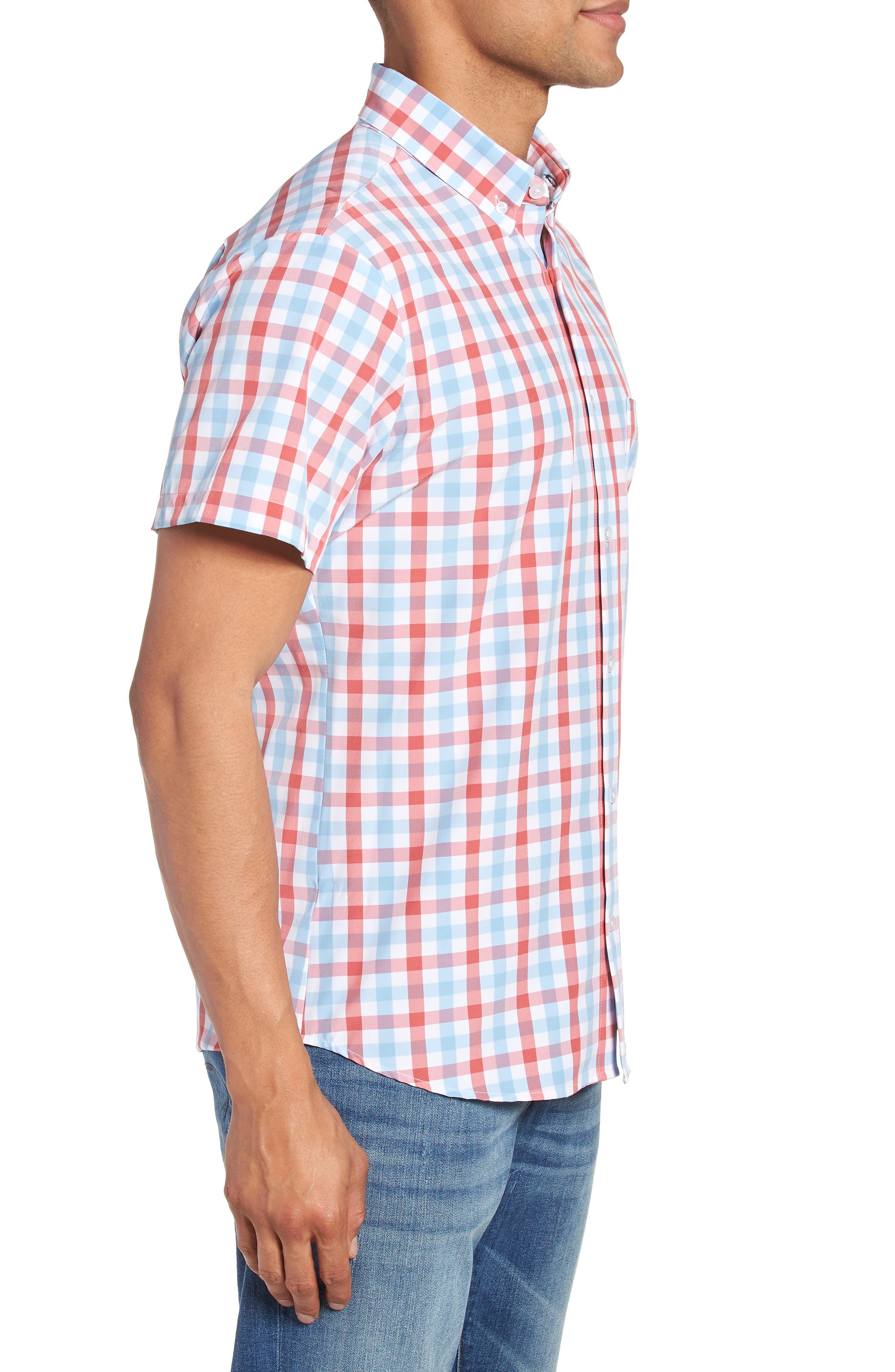 MIZZEN+MAIN,                             Revere Slim Fit Tattersall Performance Sport Shirt,                             Alternate thumbnail 3, color,                             649