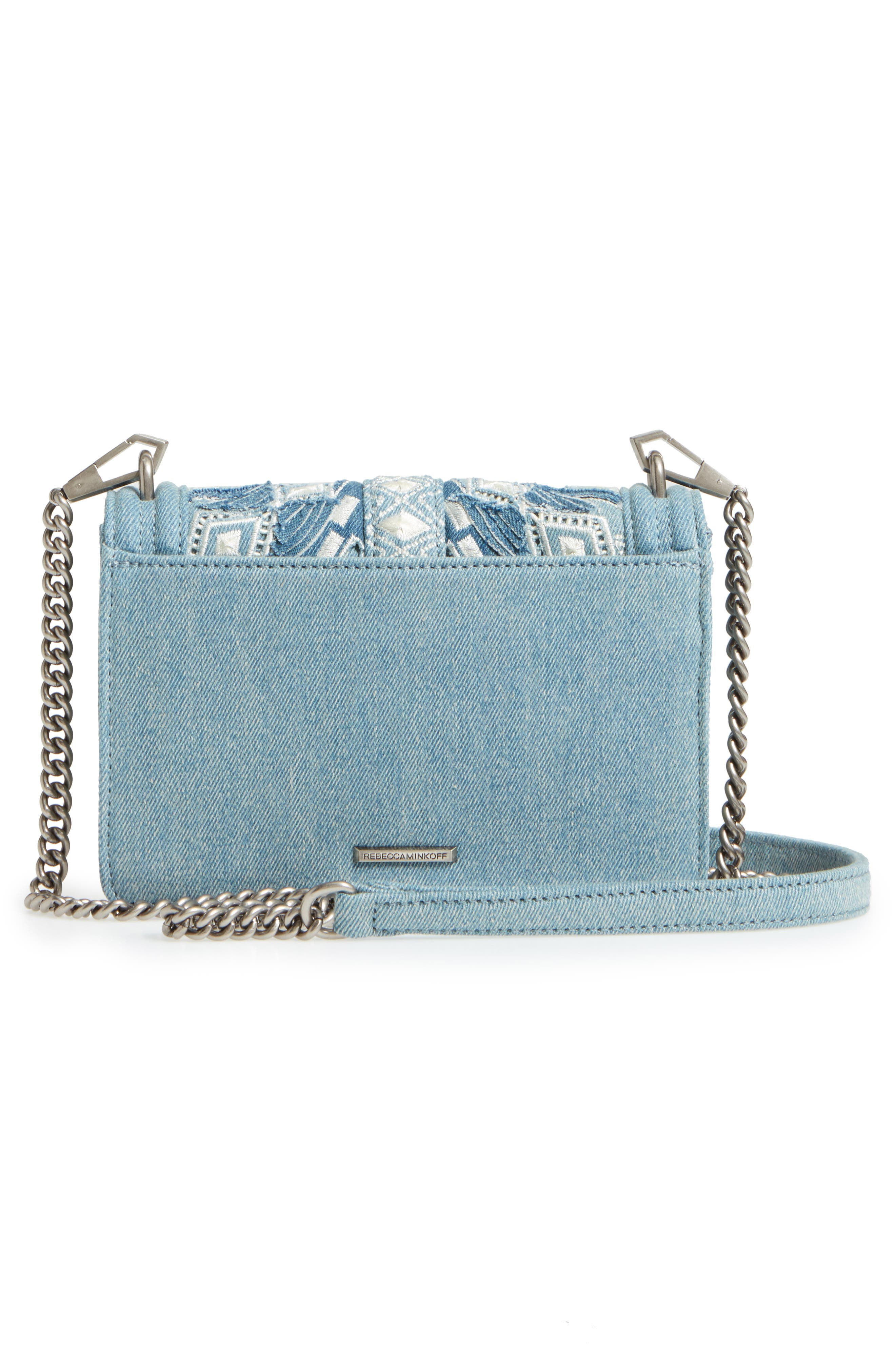 Small Love Embroidered Denim Crossbody,                             Alternate thumbnail 3, color,