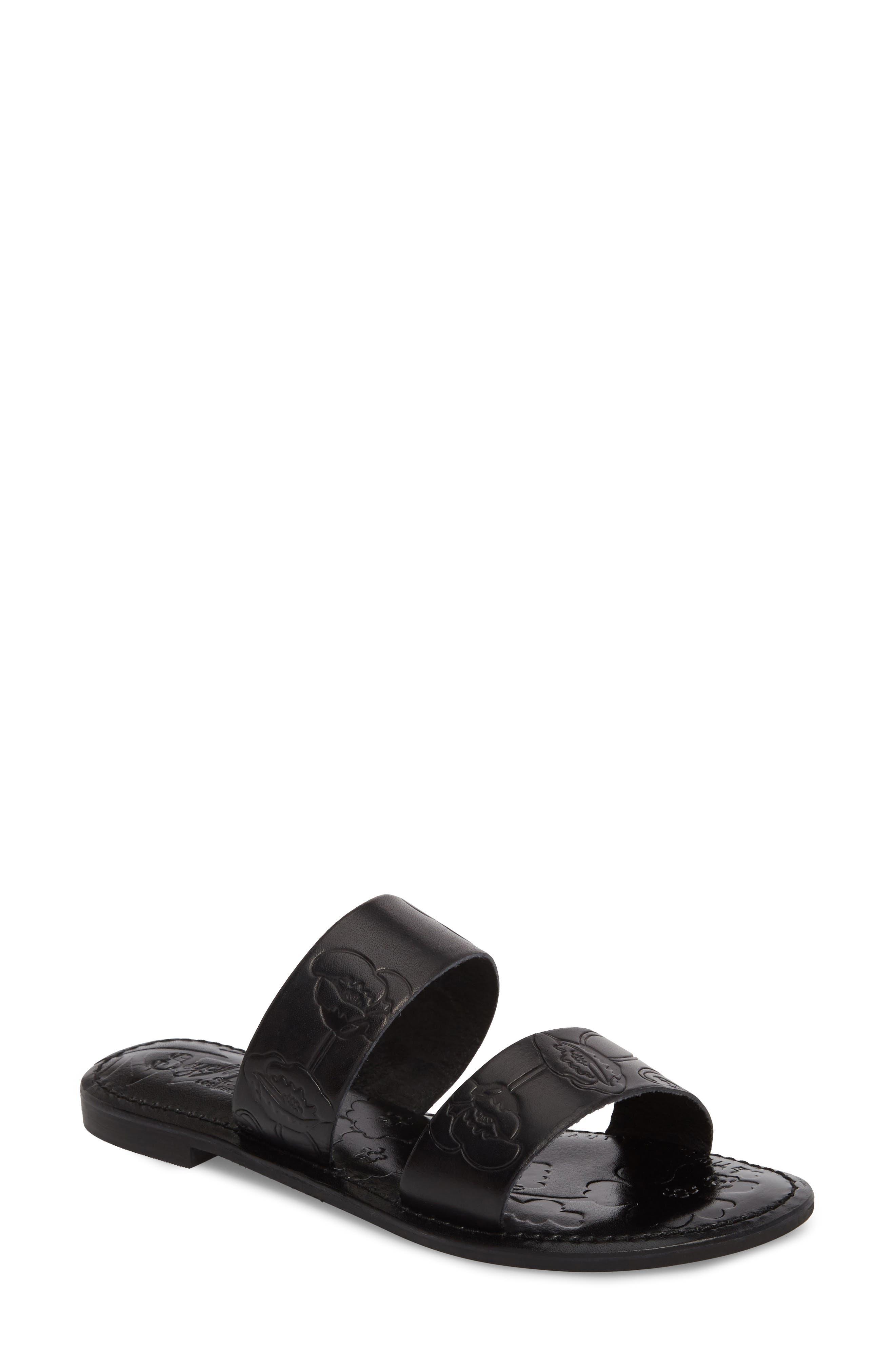 Sheroes Slide Sandal,                             Main thumbnail 1, color,                             BLACK LEATHER