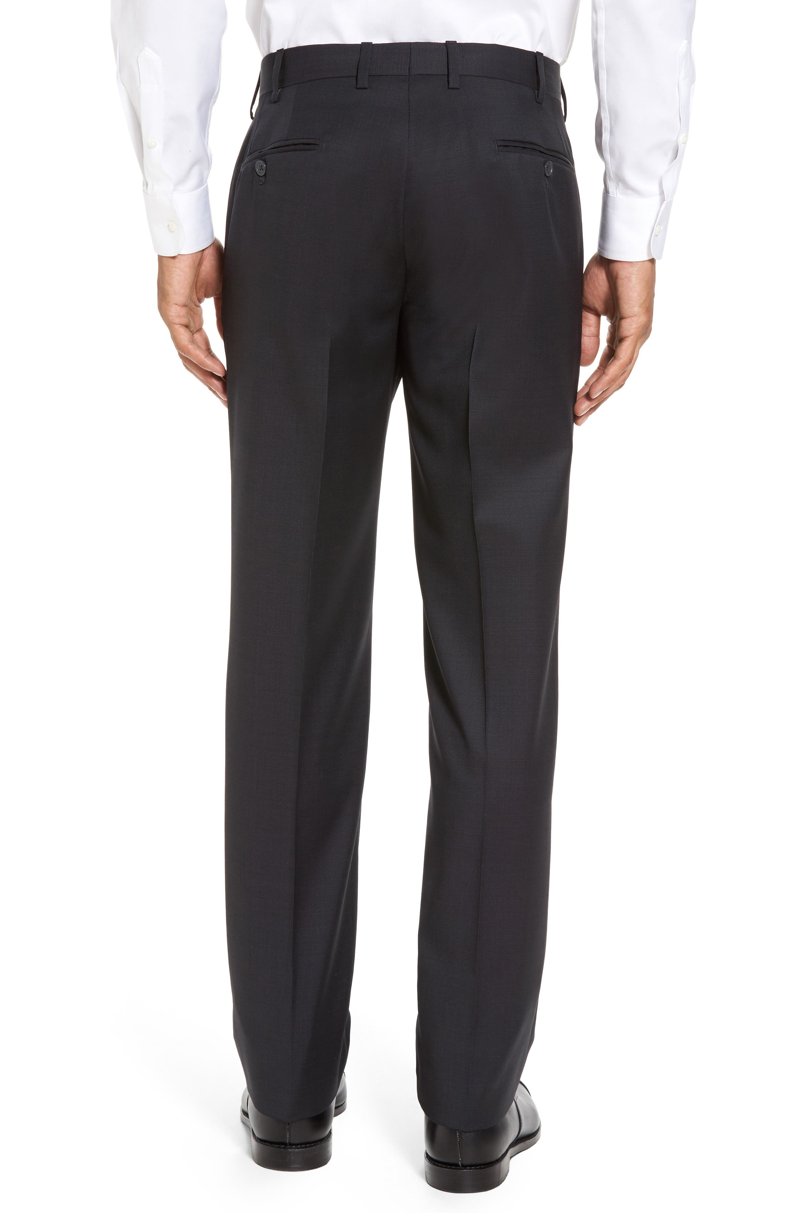 Flat Front Solid Wool Trousers,                             Alternate thumbnail 3, color,                             010