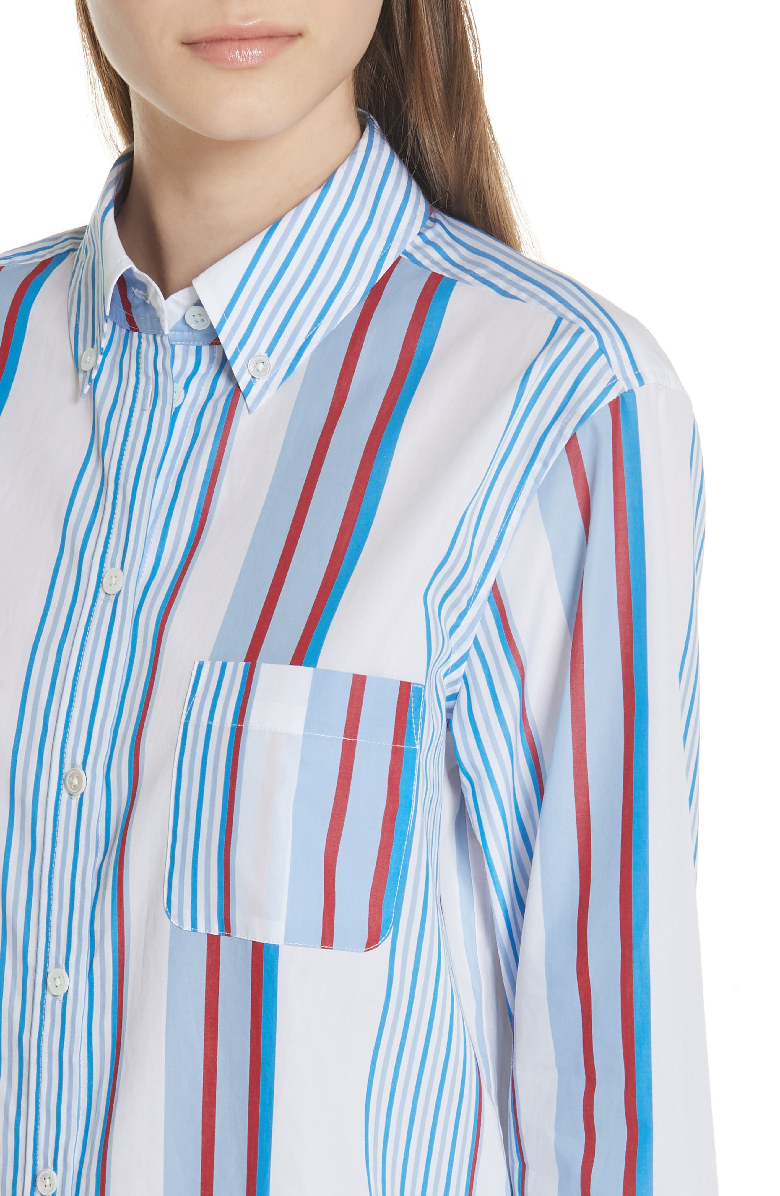 Margaux Stripe Shirt,                             Alternate thumbnail 4, color,                             BLUE WHITE MULTI