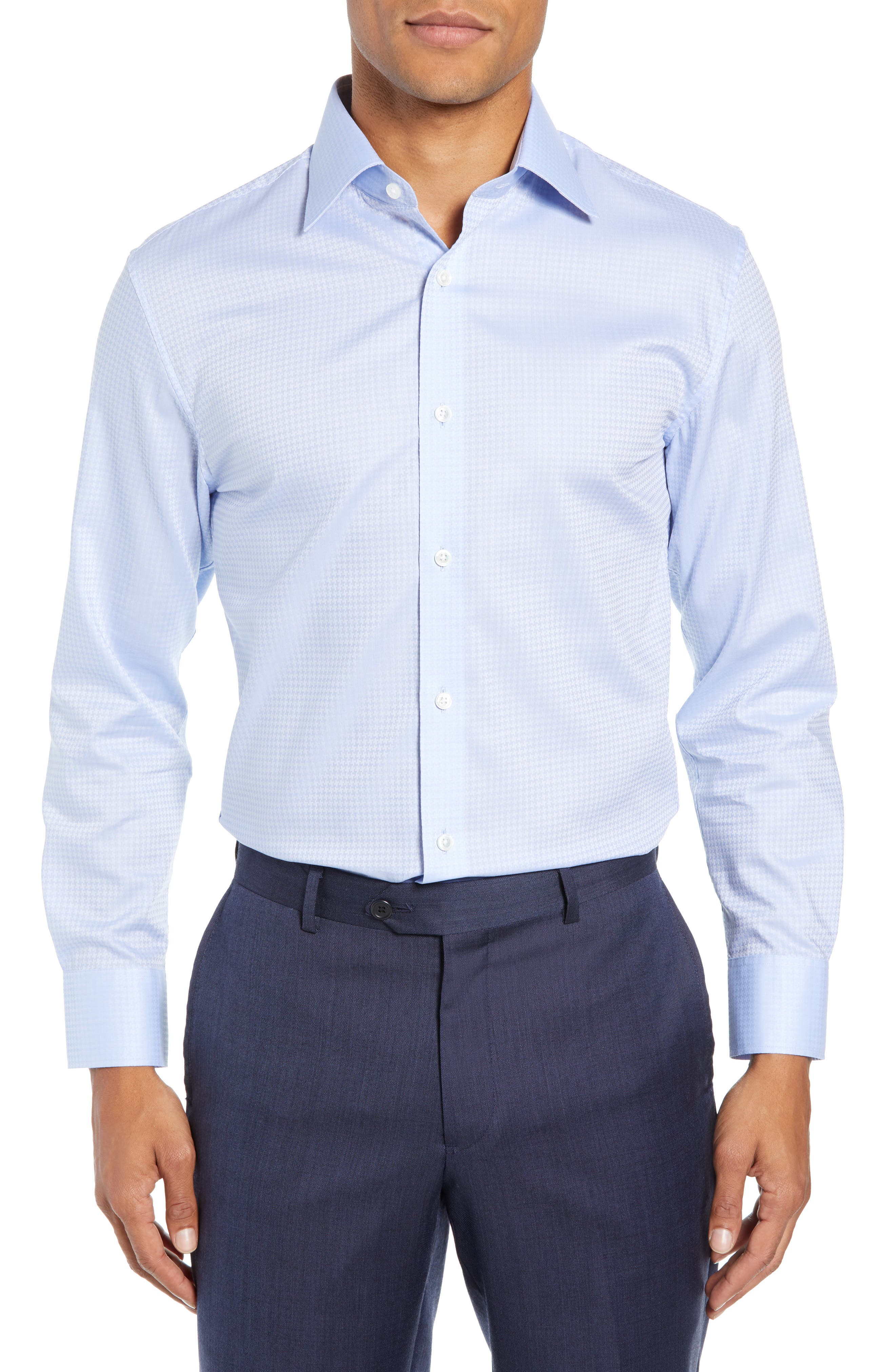Swiss Performance Clifton Slim Fit Houndstooth Dress Shirt,                         Main,                         color, CANNES BLUE