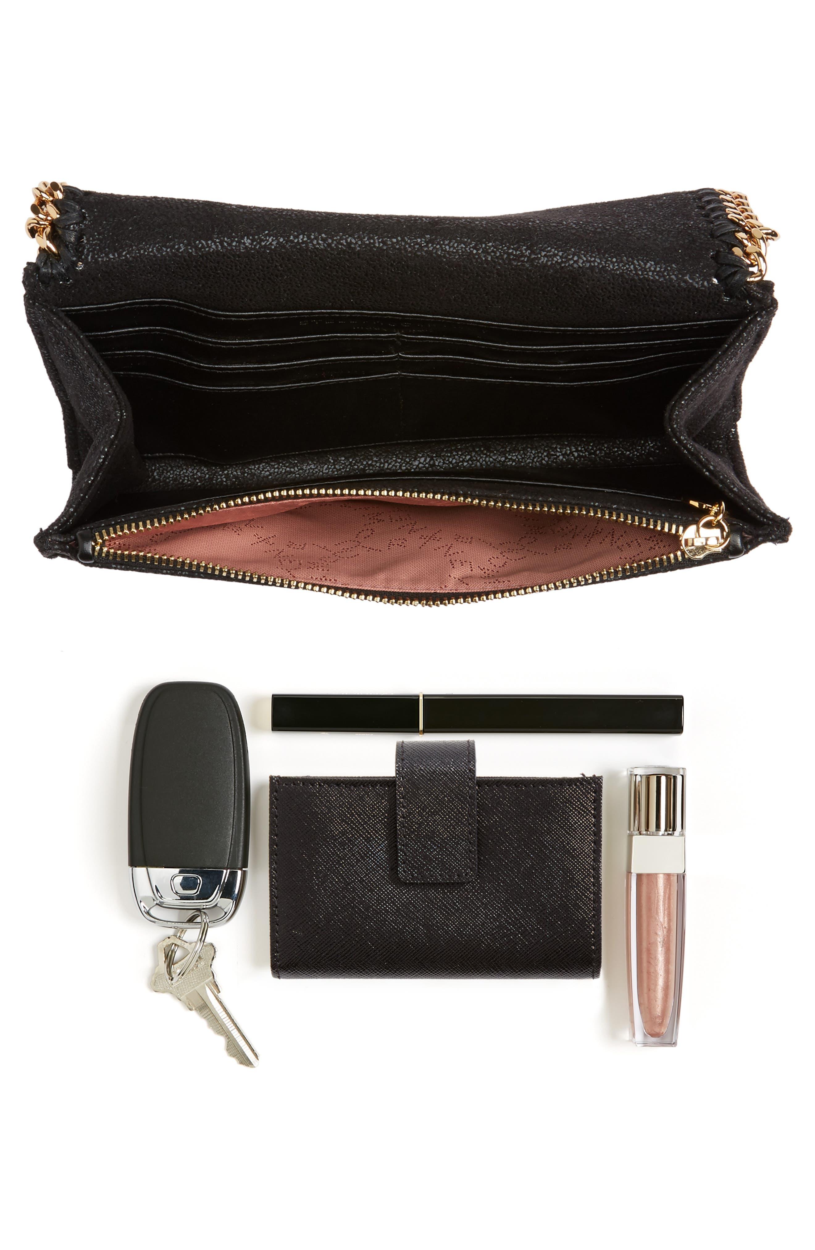 STELLA MCCARTNEY,                             Shaggy Deer Faux Leather Crossbody Bag,                             Alternate thumbnail 7, color,                             BLACK