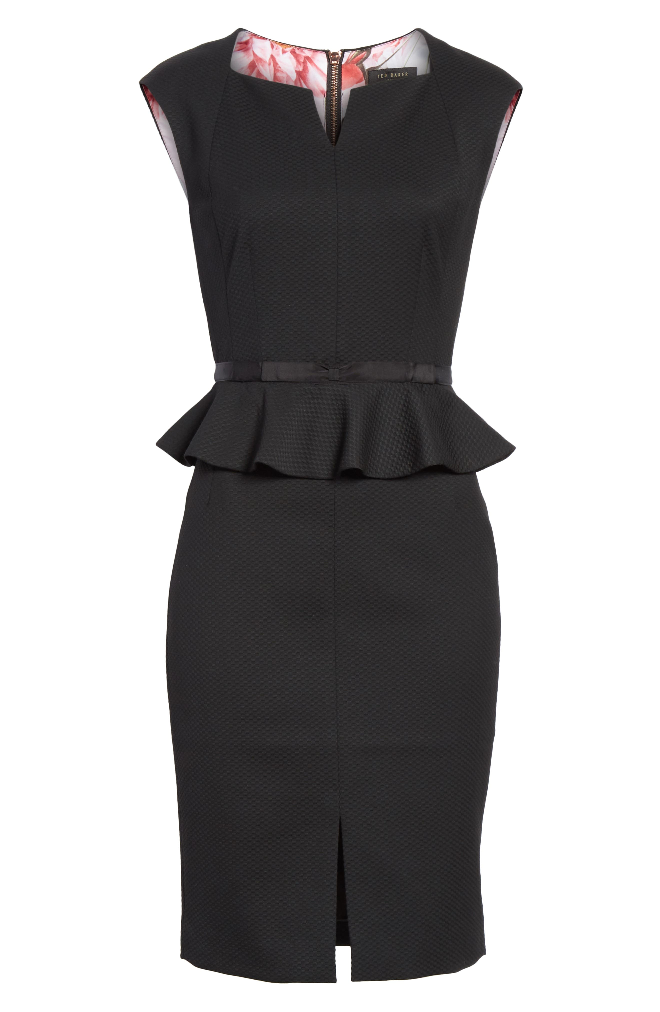 Ted Working Title Textured Peplum Dress,                             Alternate thumbnail 6, color,                             BLACK