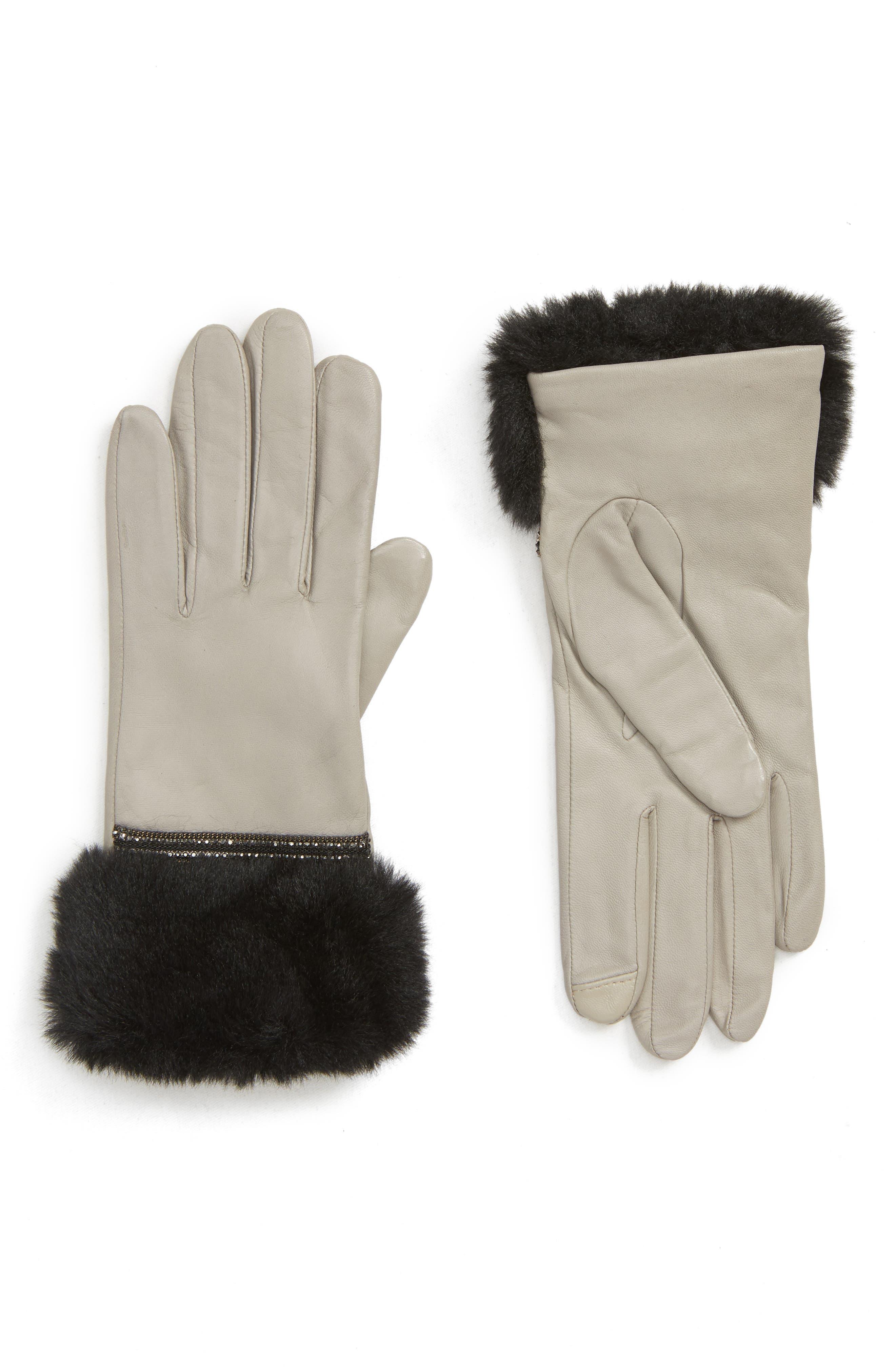 Badgley Mischka Faux Fur Trim Leather Touchscreen Gloves, Grey