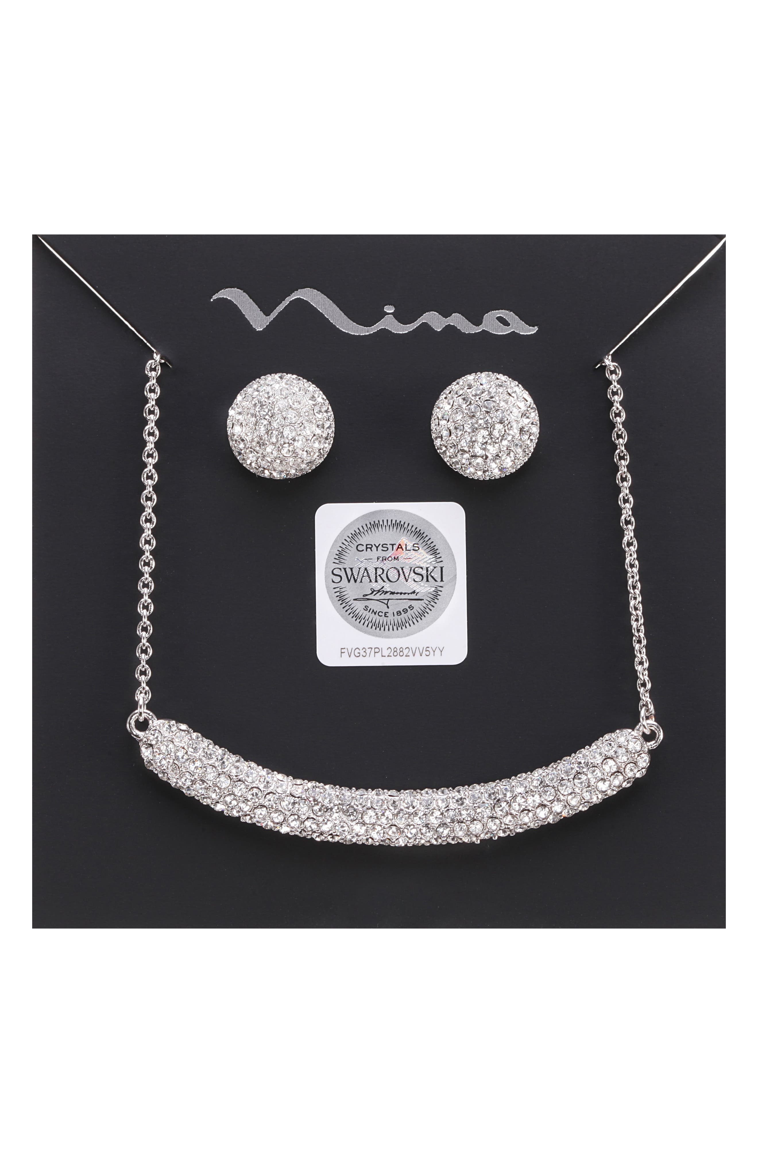 Pavé Swarovski Crystal Necklace & Stud Earrings Set,                             Alternate thumbnail 5, color,                             WHITE/ SILVER