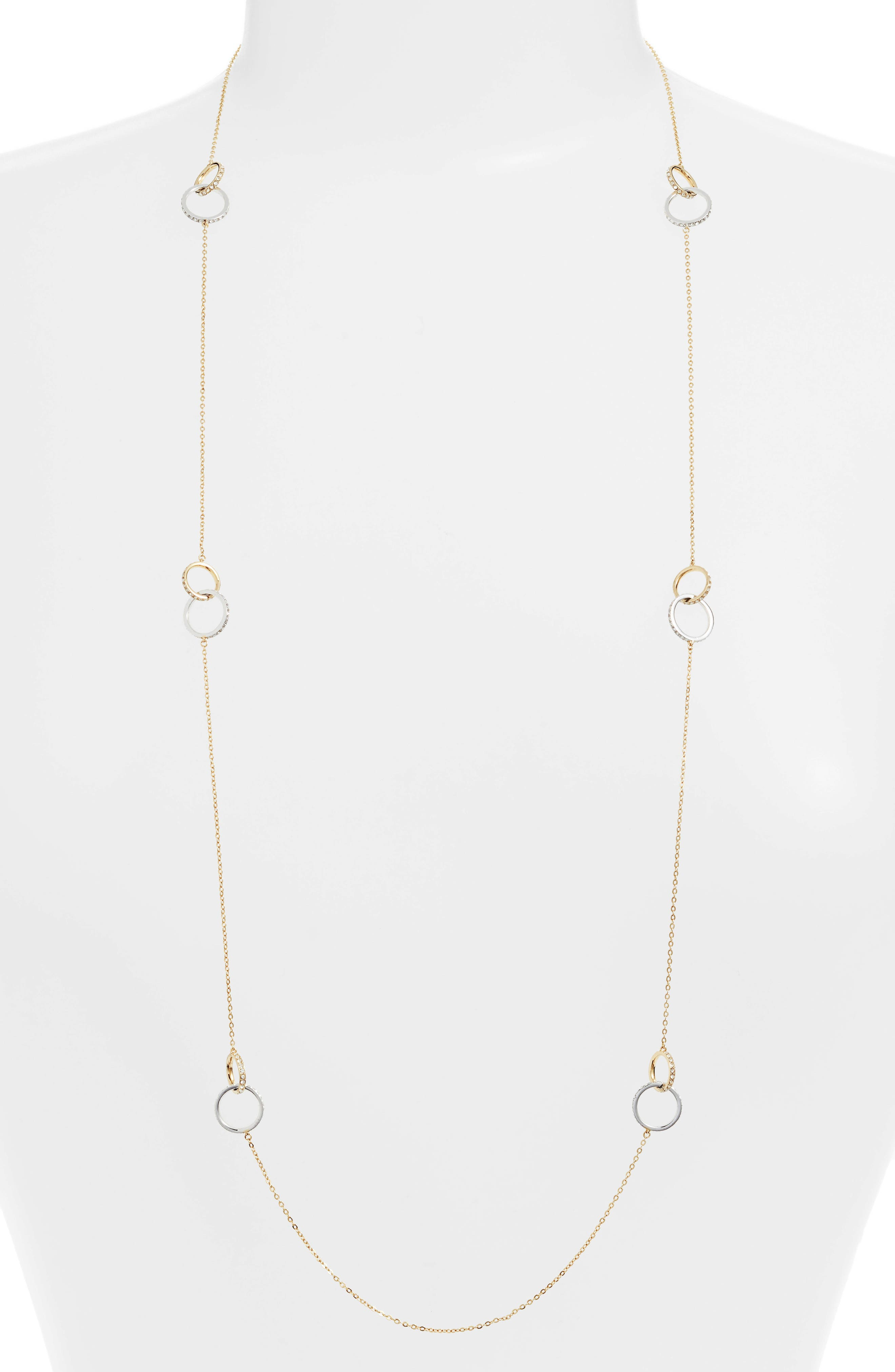 NORDSTROM,                             Infinity Long Link Station Necklace,                             Main thumbnail 1, color,                             CLEAR- GOLD- SILVER