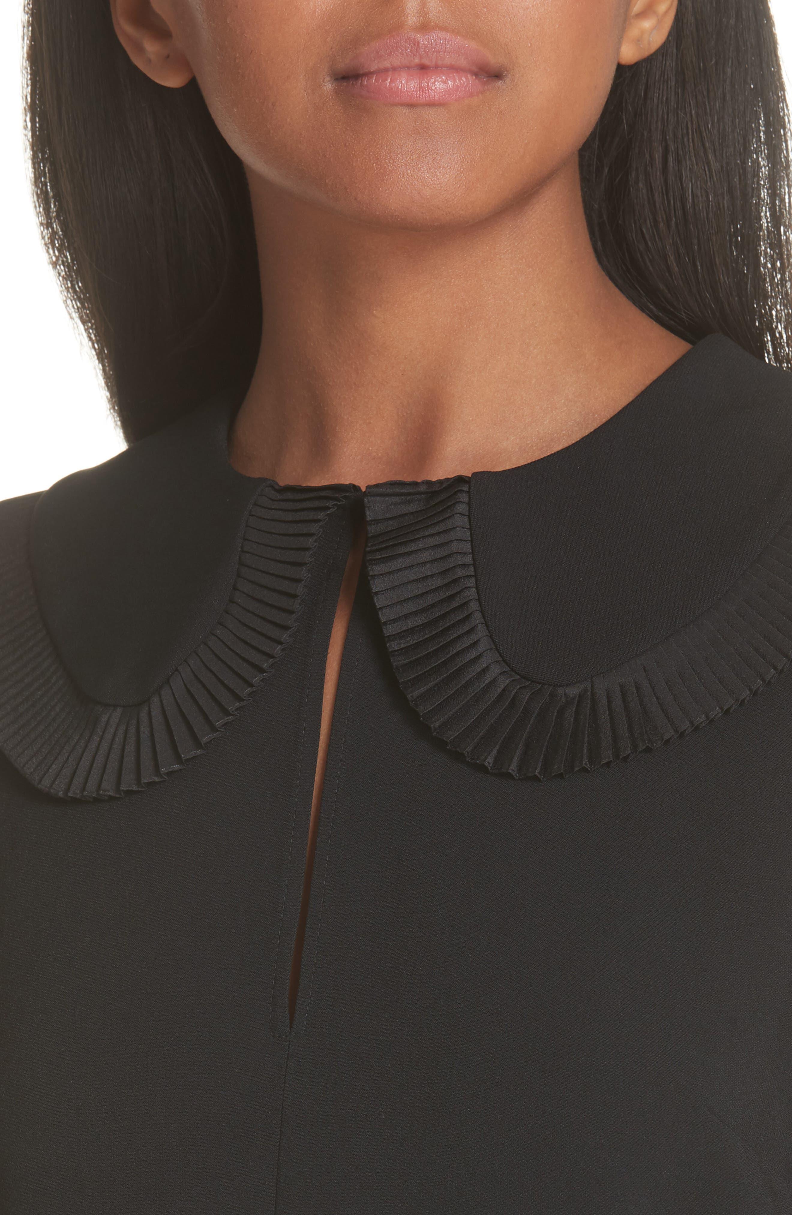Ruffle Trim Keyhole Dress,                             Alternate thumbnail 4, color,                             BLACK