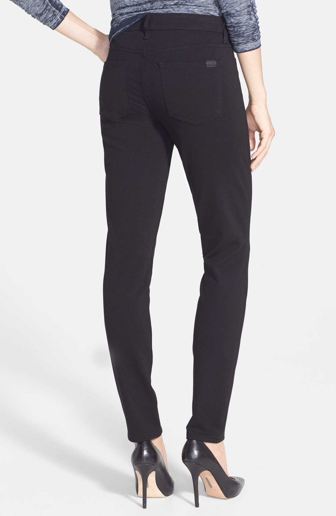 Five Pocket Skinny Ponte Pants,                             Alternate thumbnail 3, color,                             BLACK