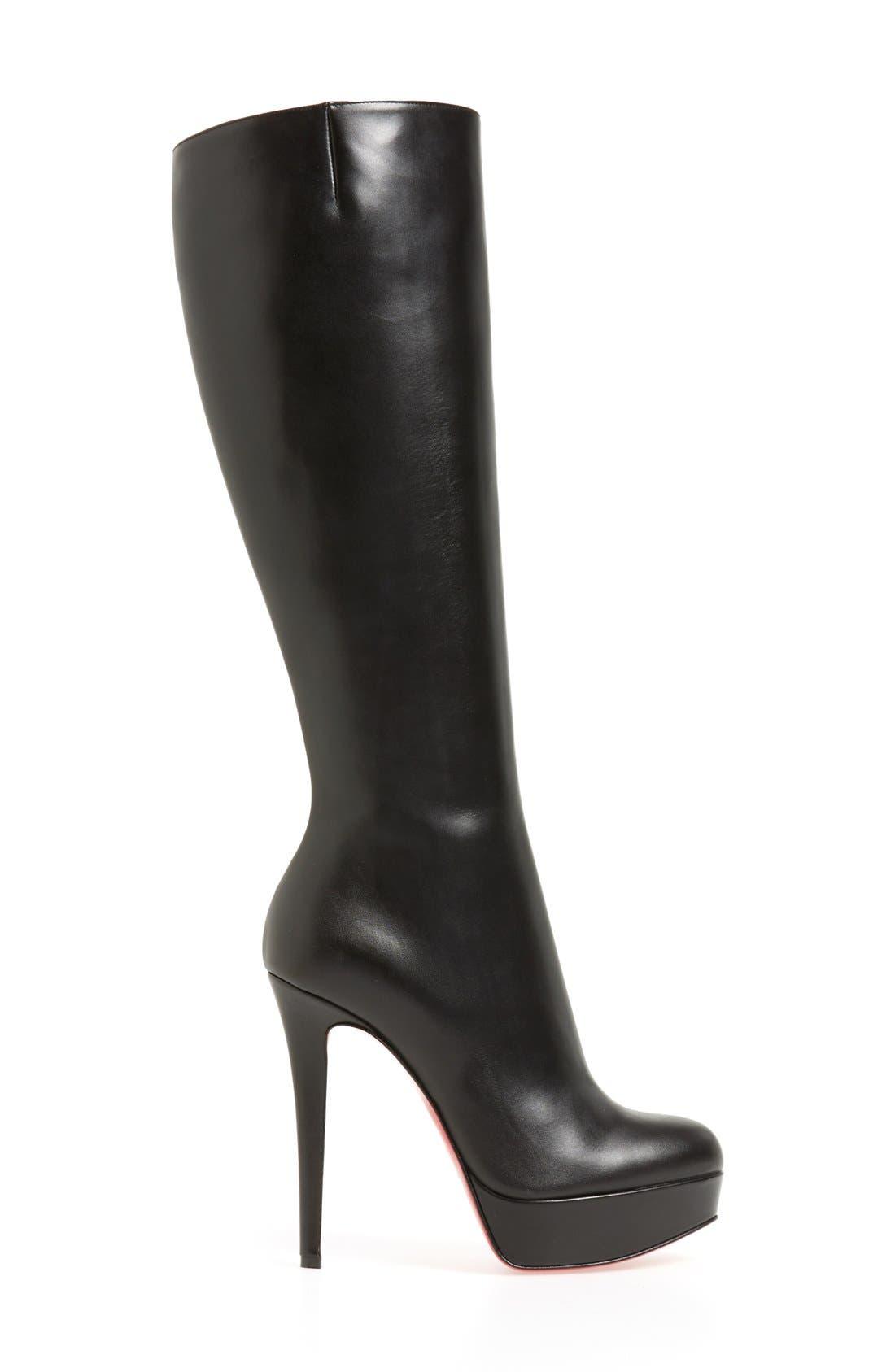 'Bianca Botta' Platform Boot,                             Alternate thumbnail 4, color,                             BLACK LEATHER