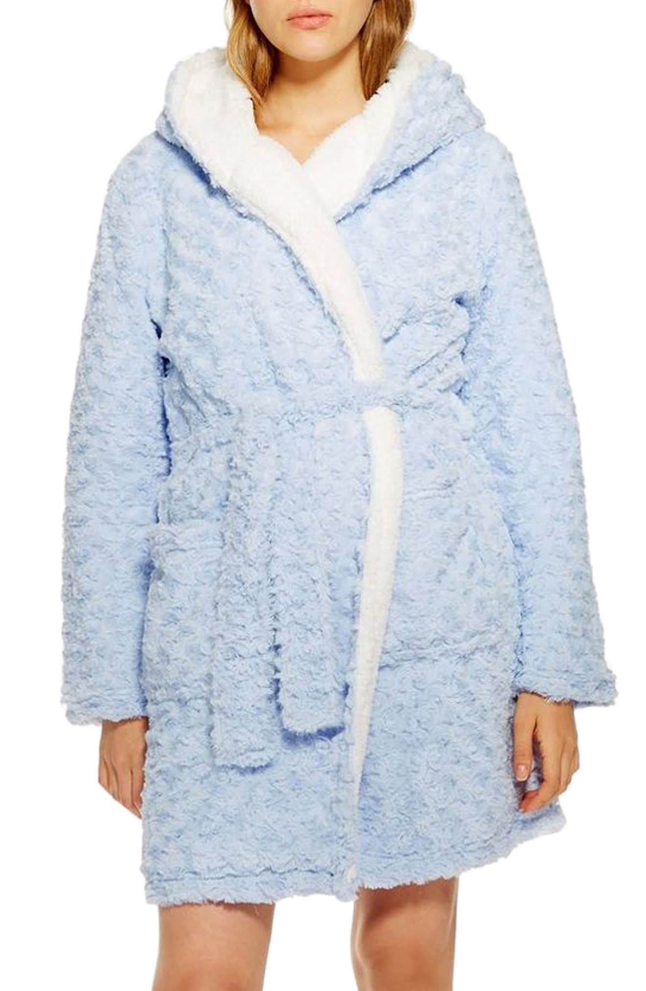 Fluffy Faux Fur Hooded Robe,                         Main,                         color, LIGHT BLUE