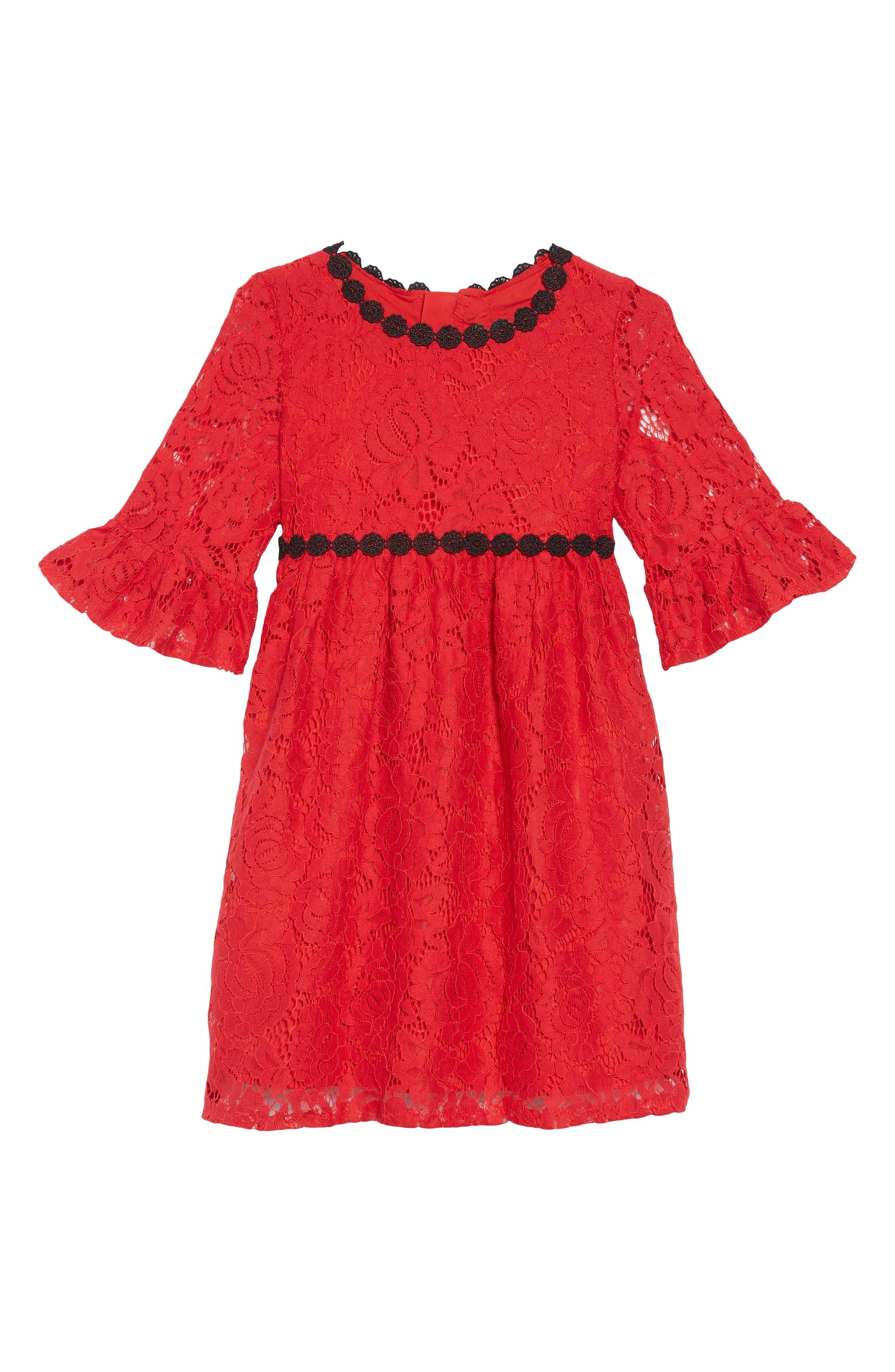 alençon lace party dress,                             Main thumbnail 1, color,                             DEEP RED