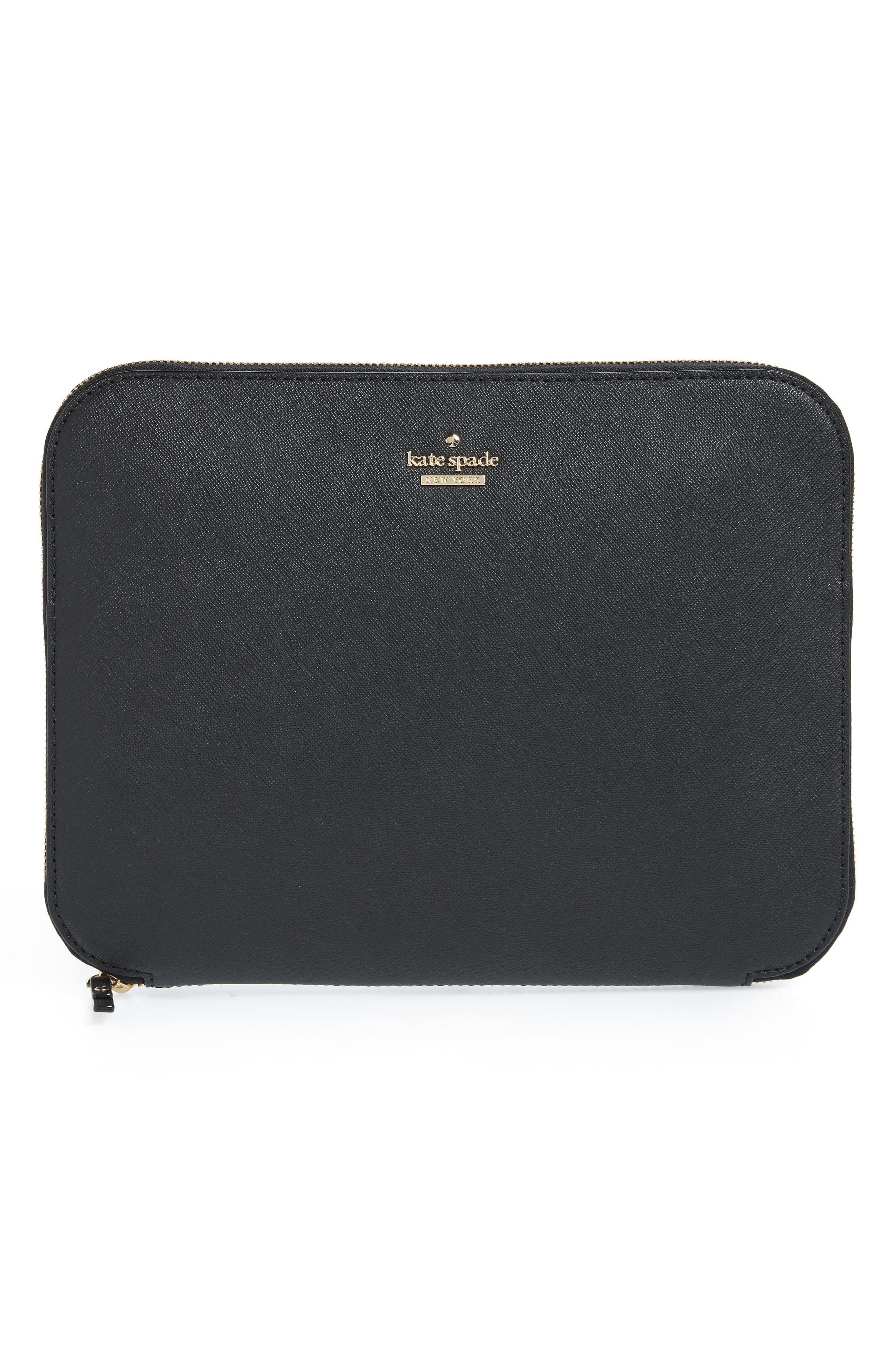 saffiano leather organization tablet sleeve,                             Main thumbnail 1, color,                             BLACK