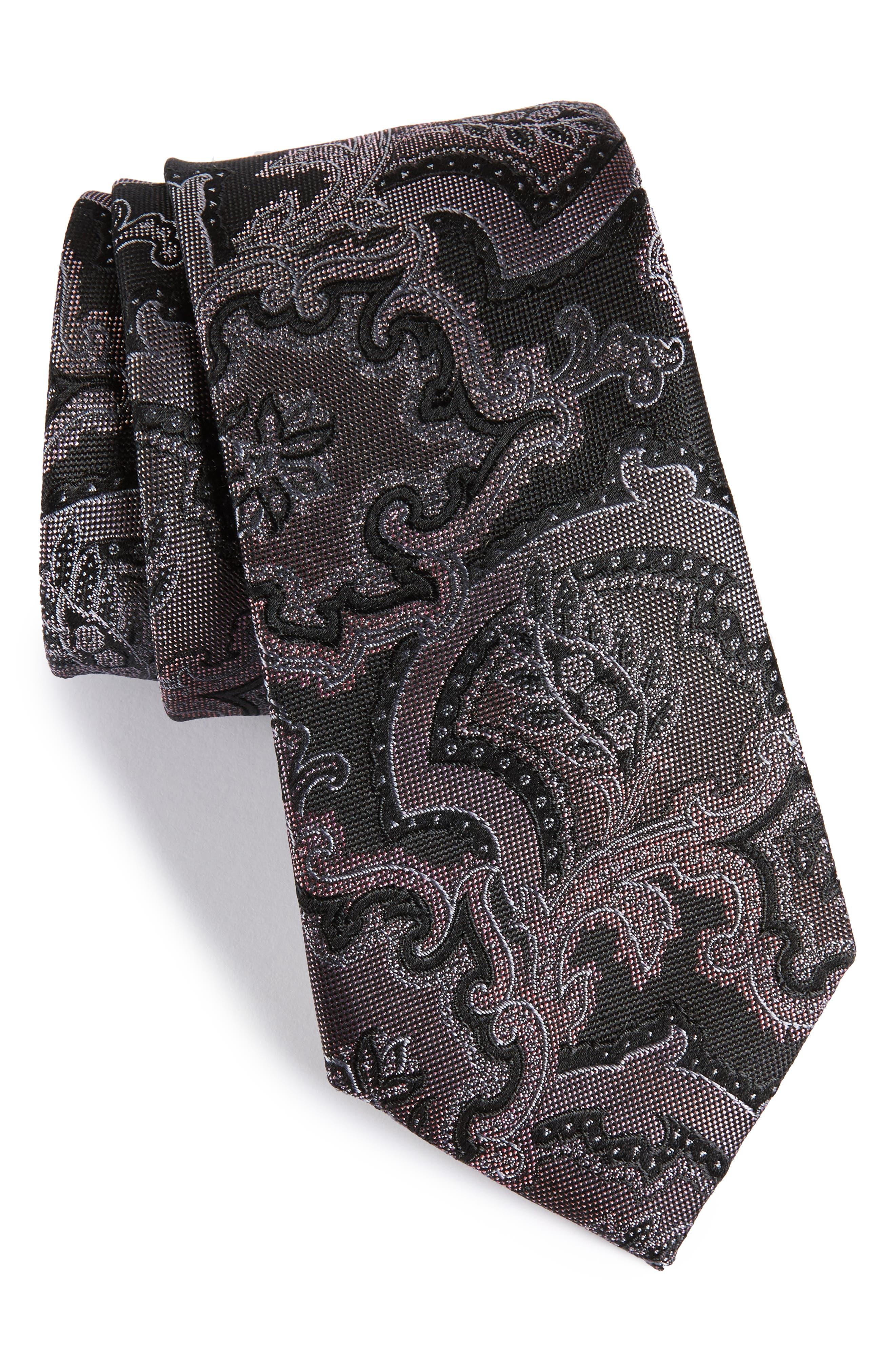 Ellerson Paisley Silk Tie,                         Main,                         color, 001