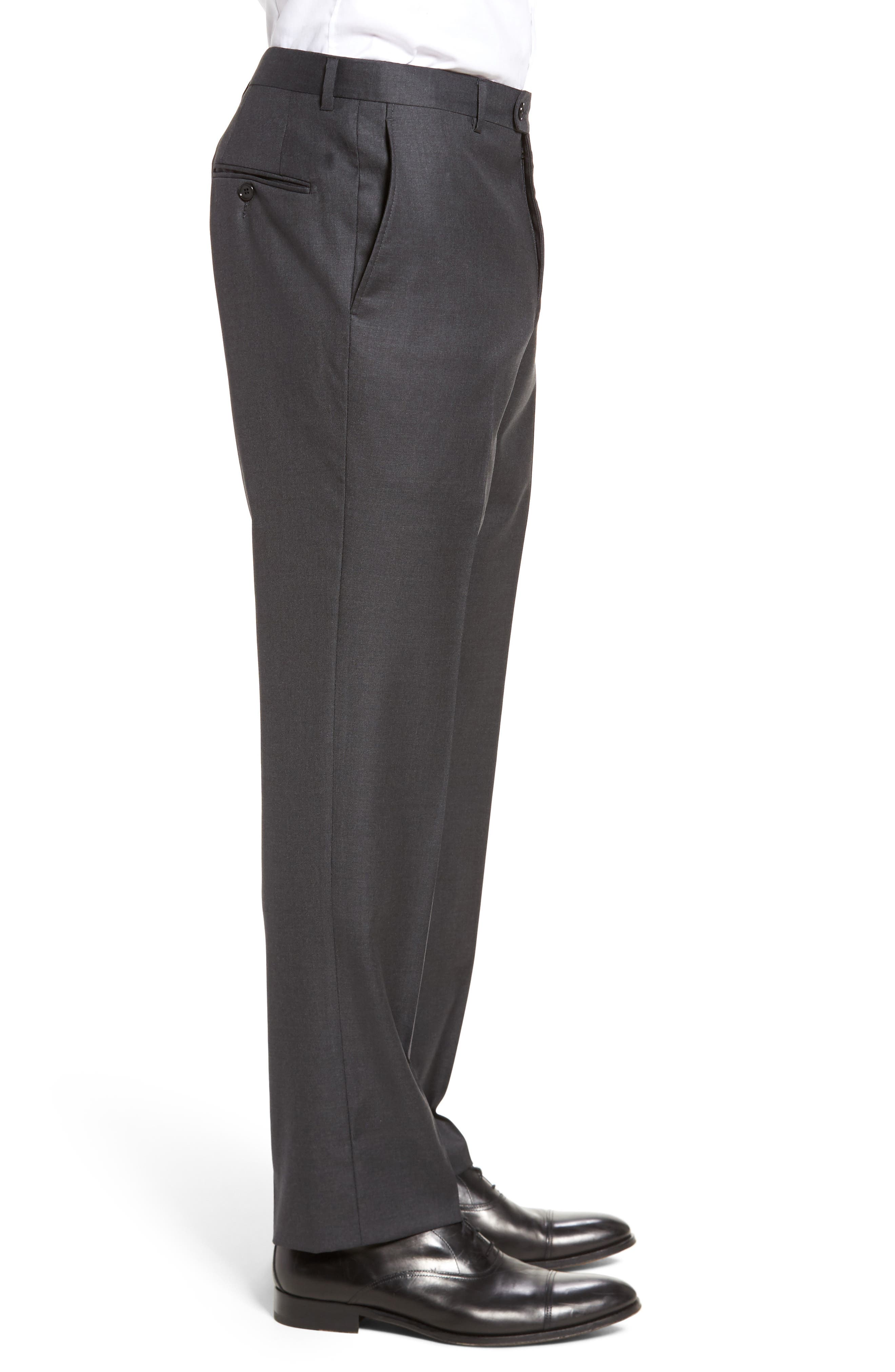 Classic B Fit Flat Front Solid Wool Trousers,                             Alternate thumbnail 4, color,                             CHARCOAL SHARKSKIN