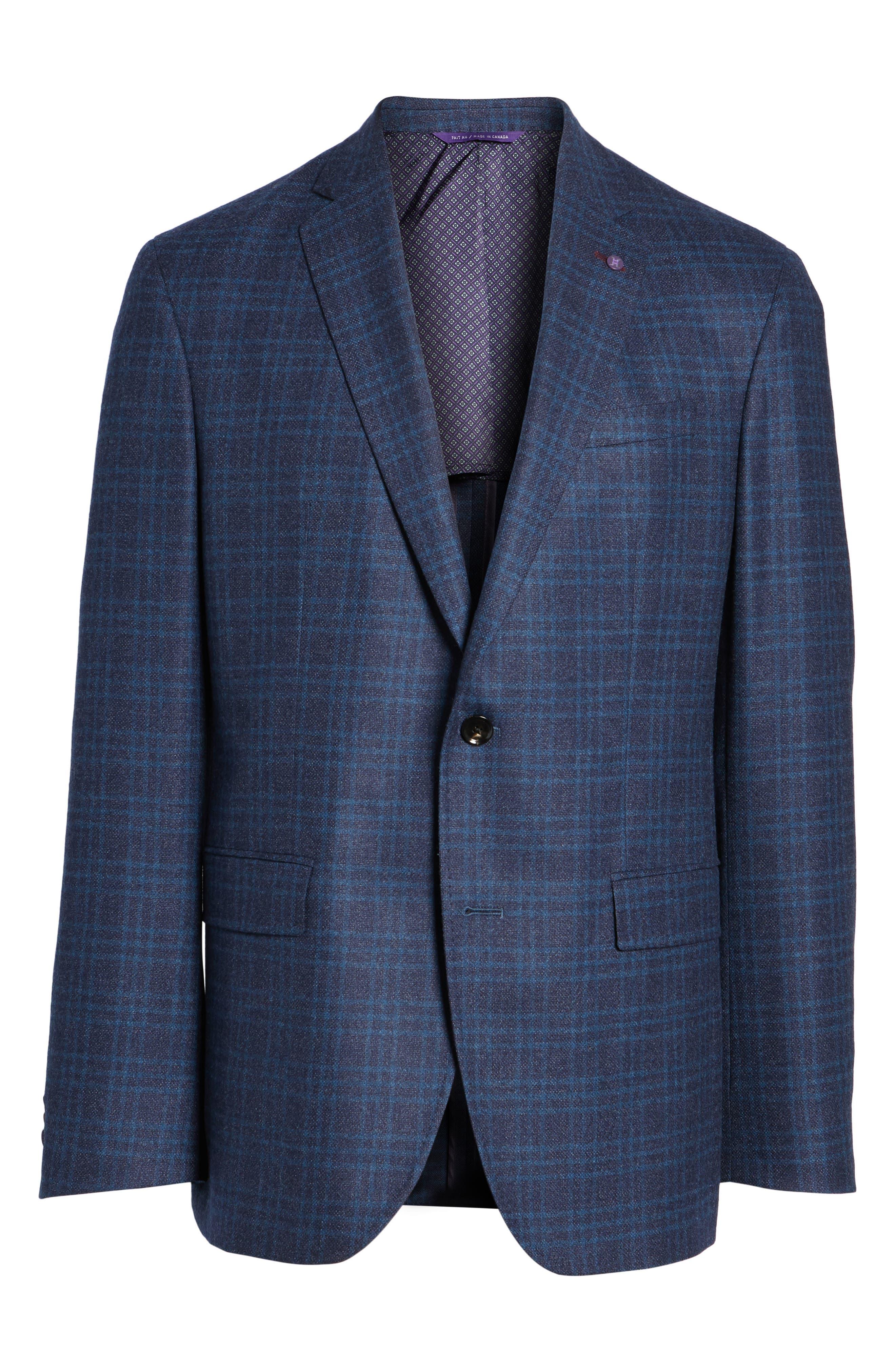 Trim Fit Plaid Wool Sport Coat,                             Alternate thumbnail 5, color,
