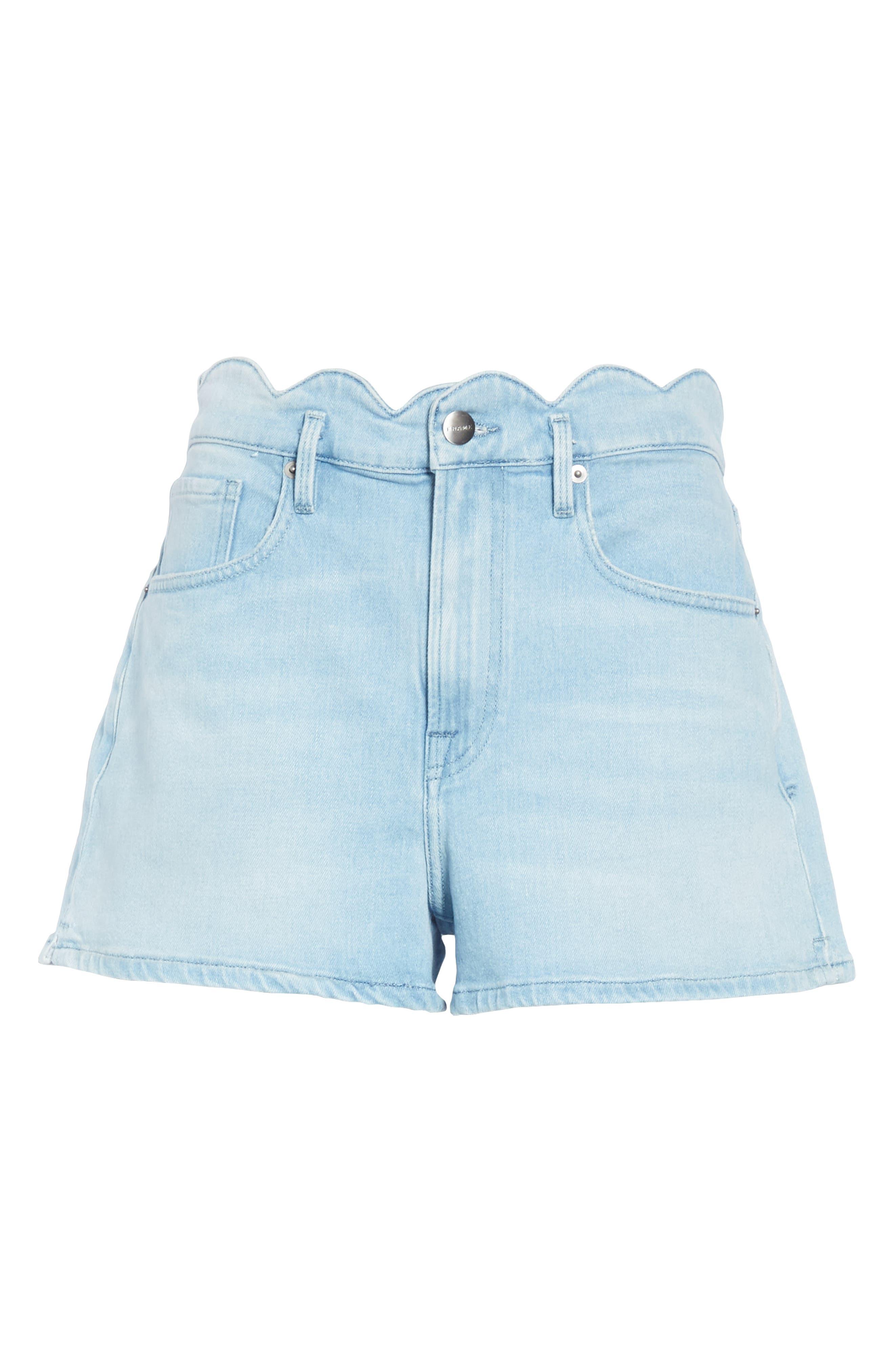 Scallop Waist Denim Shorts,                             Alternate thumbnail 6, color,                             WRIGHT