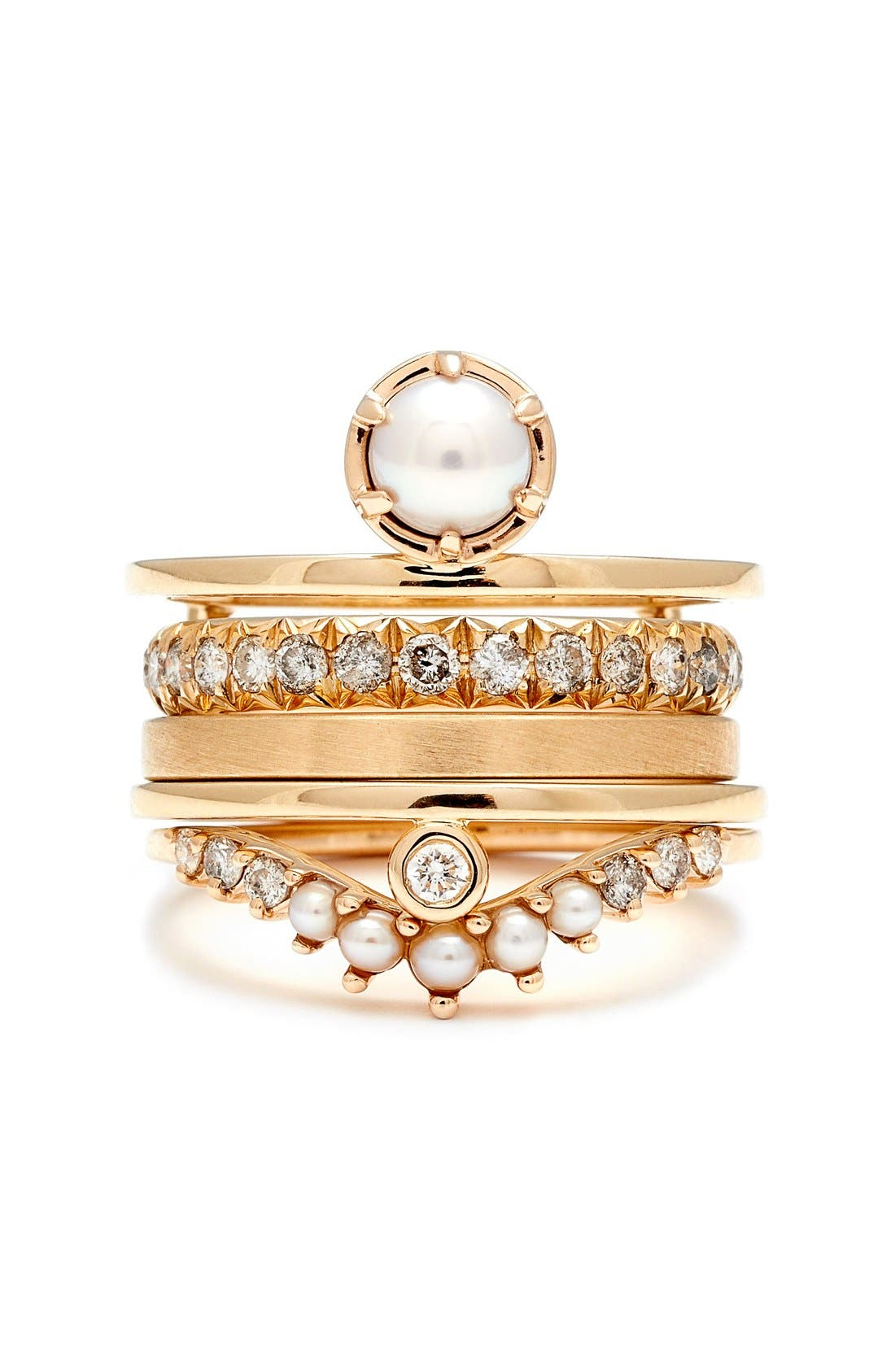 'Reverse Attelage' Double Band Pearl & Diamond Ring,                             Alternate thumbnail 3, color,                             YELLOW/ GOLD/ WHITE