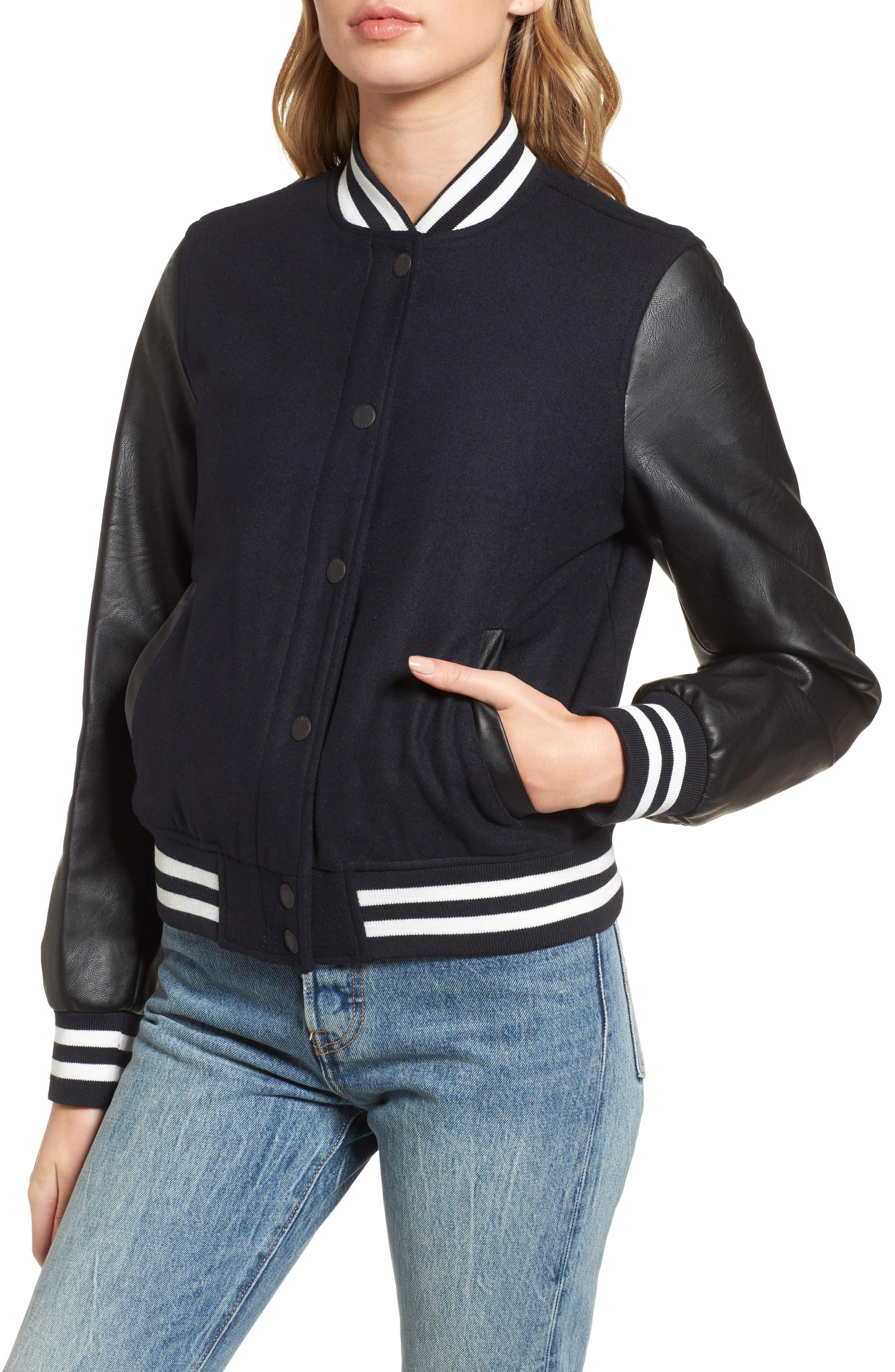 LEVIS<sup>®</sup> Mixed Media Varsity Bomber Jacket,                             Alternate thumbnail 4, color,                             410