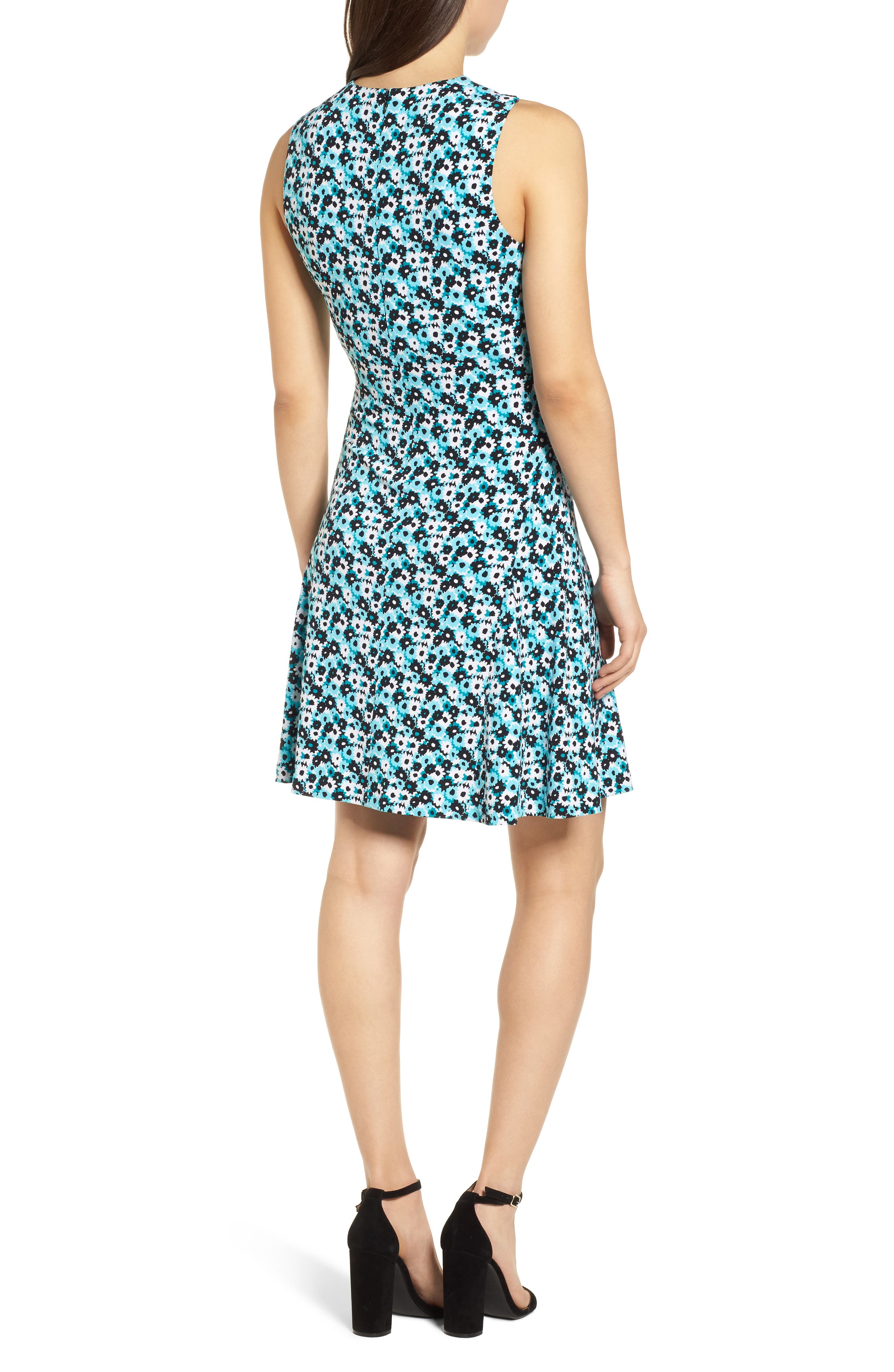 Carnations Cross Neck Fit and Flare Dress,                             Alternate thumbnail 3, color,
