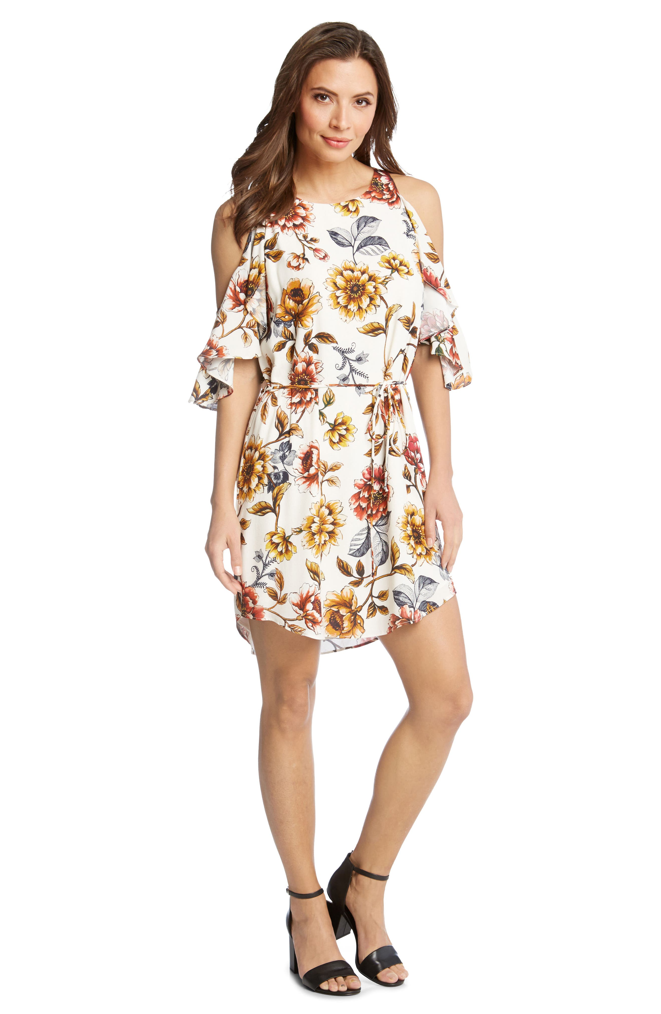 Kane Kane Cold Shoulder Floral Dress,                             Alternate thumbnail 3, color,                             PRINT
