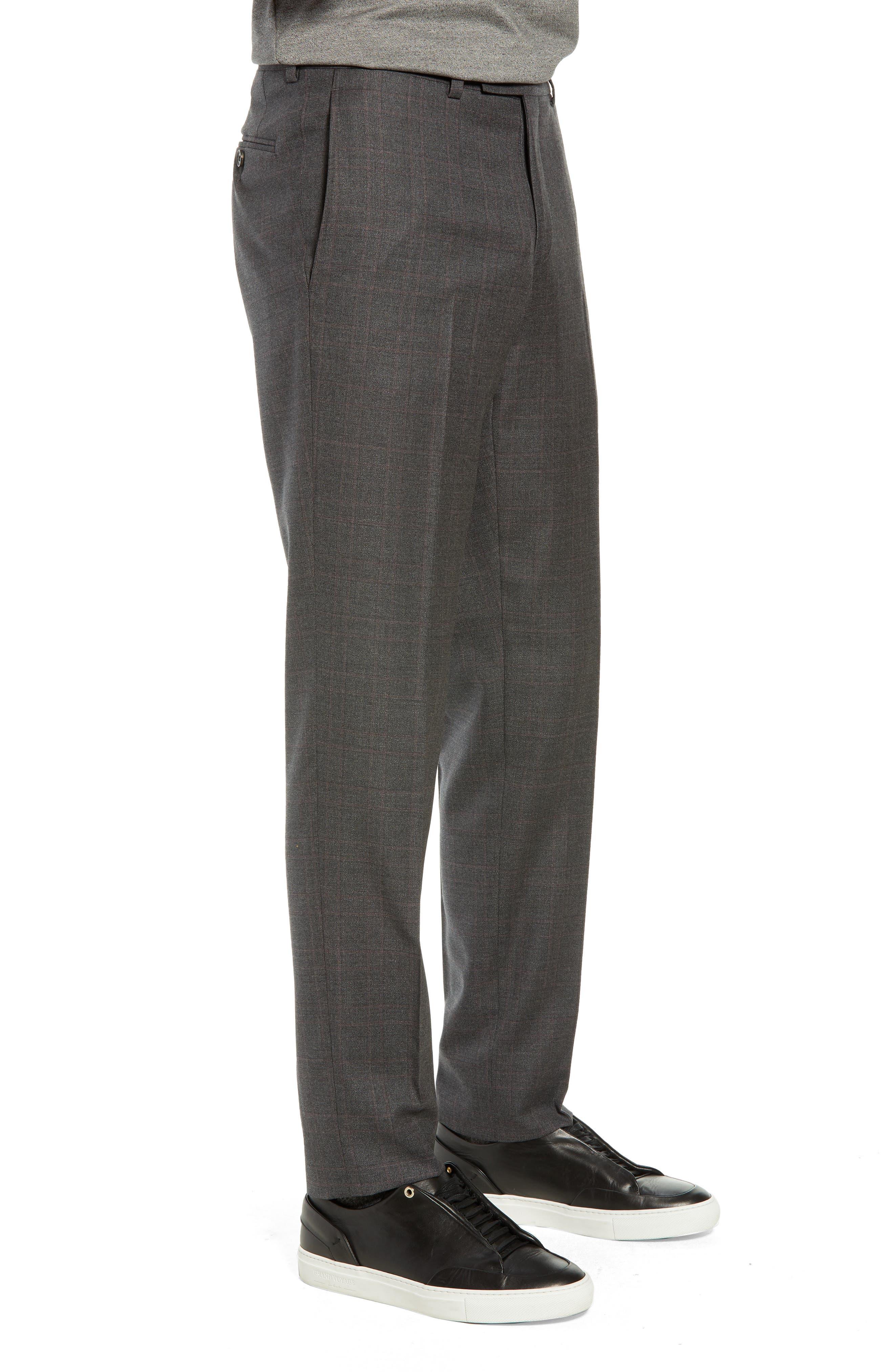 Jefferson Flat Front Plaid Wool Trousers,                             Alternate thumbnail 3, color,                             GREY