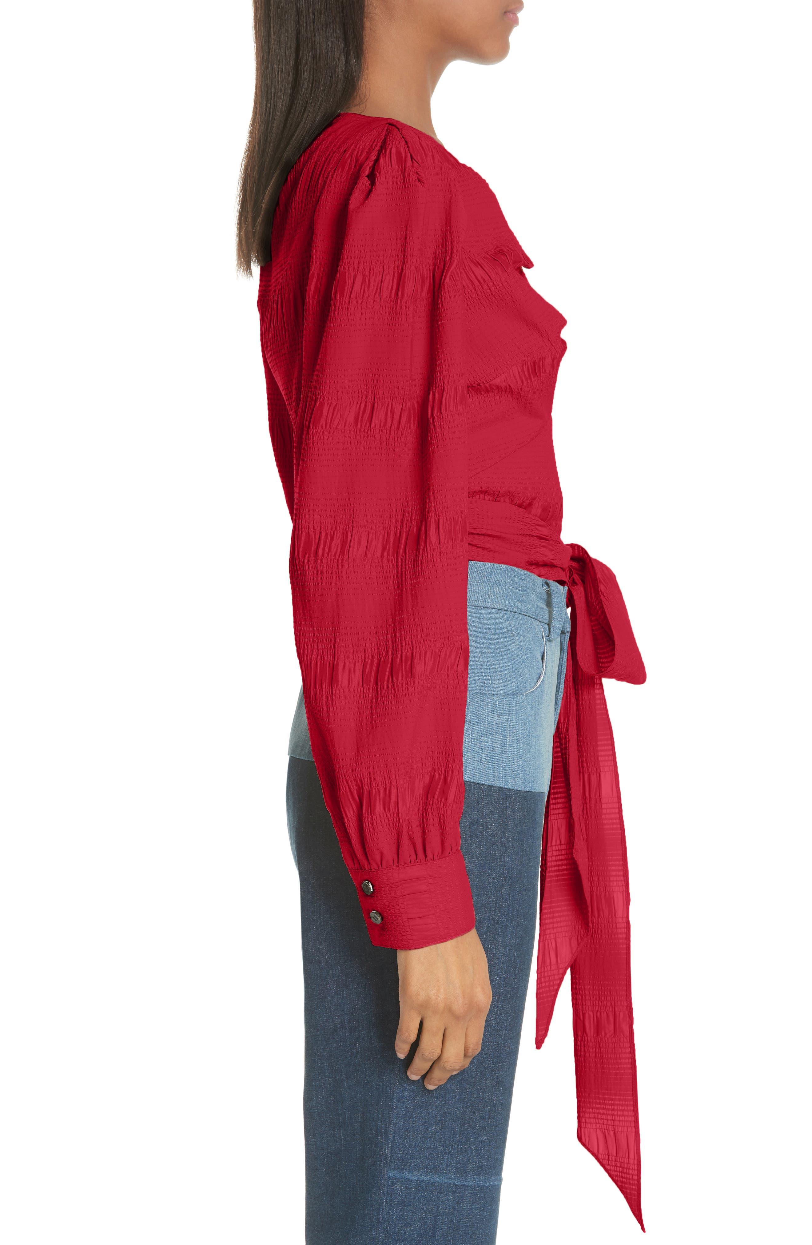 RACHEL COMEY,                             Bounds Tie Waist Silk Blend Top,                             Alternate thumbnail 3, color,                             600