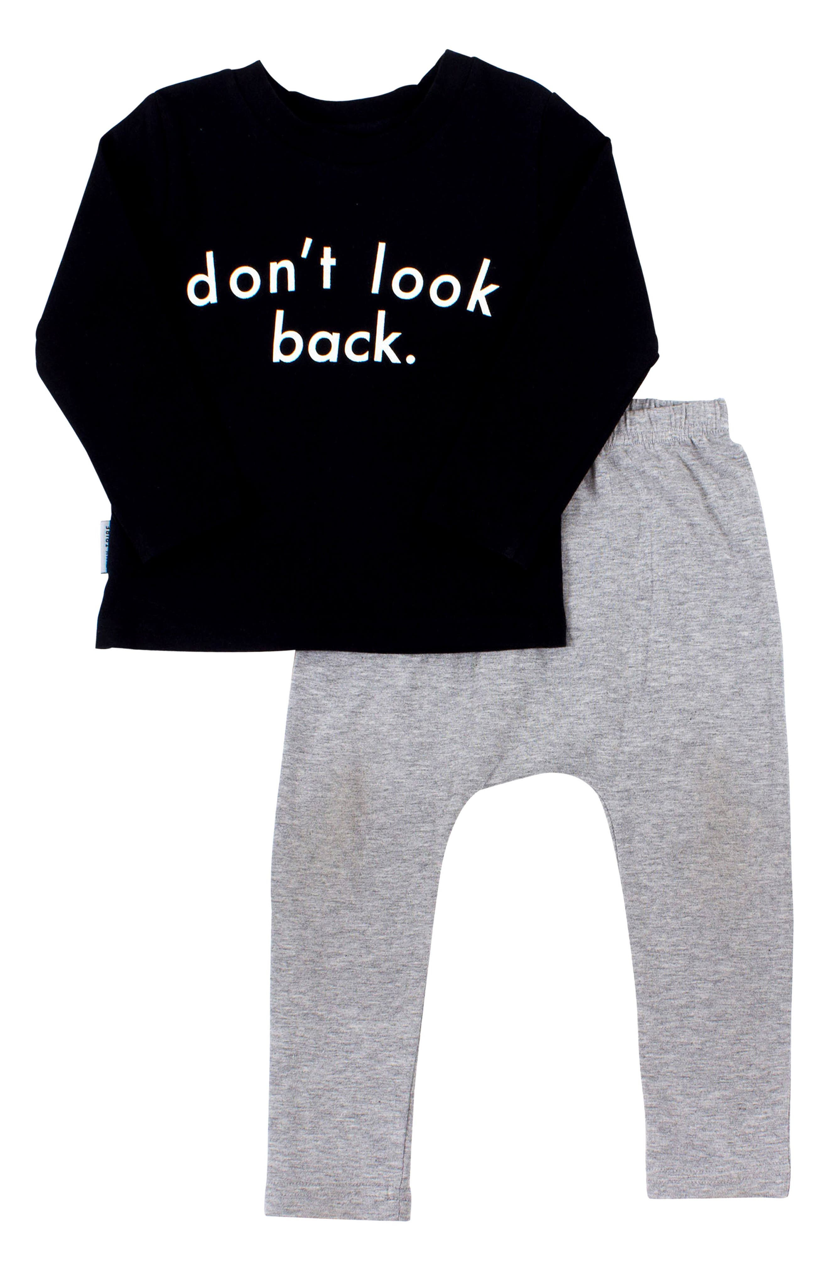 Don't Look Back T-Shirt & Leggings Set,                             Main thumbnail 1, color,                             001