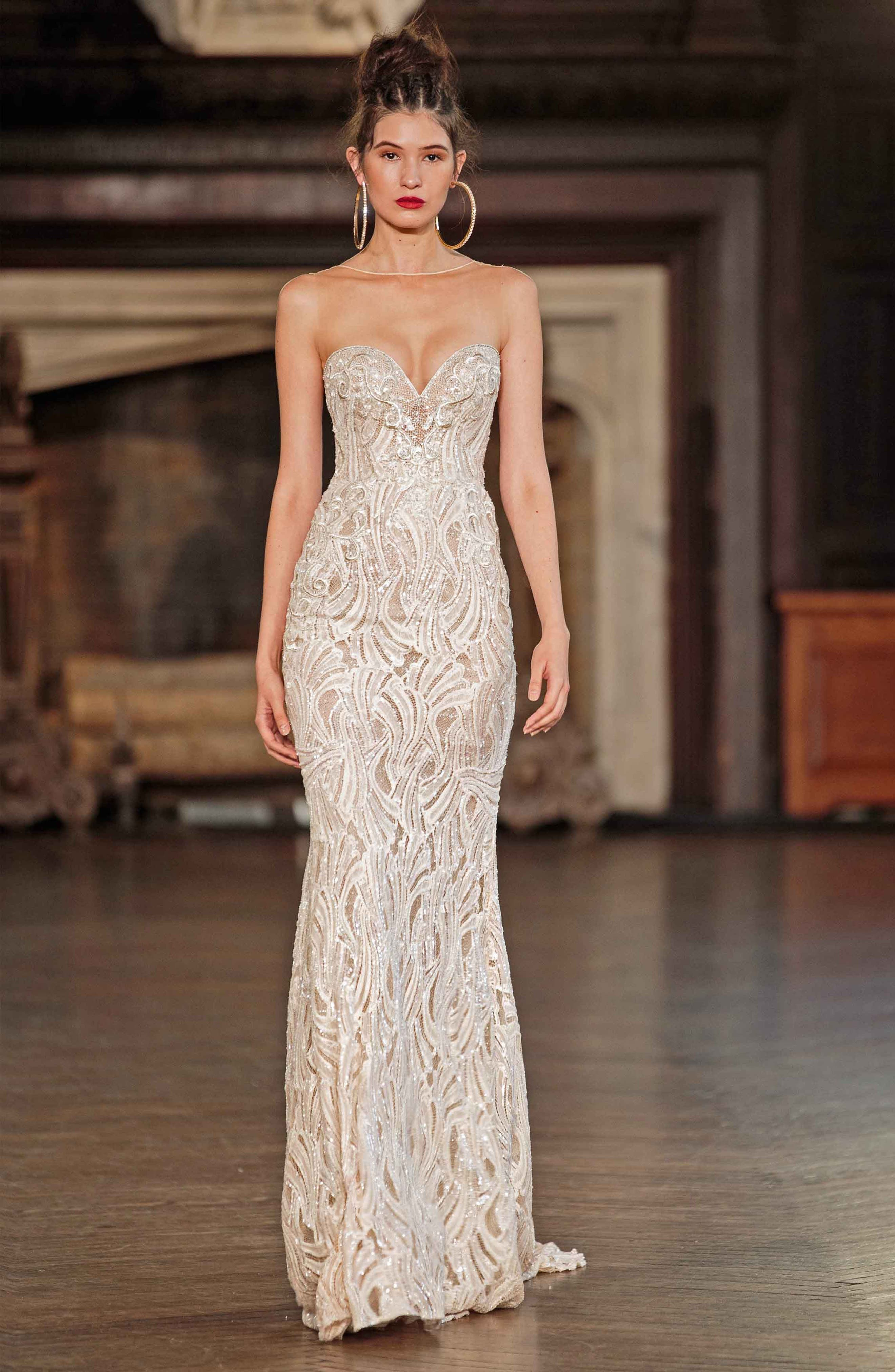 Illusion Beaded Mermaid Gown,                             Alternate thumbnail 2, color,                             IVORY