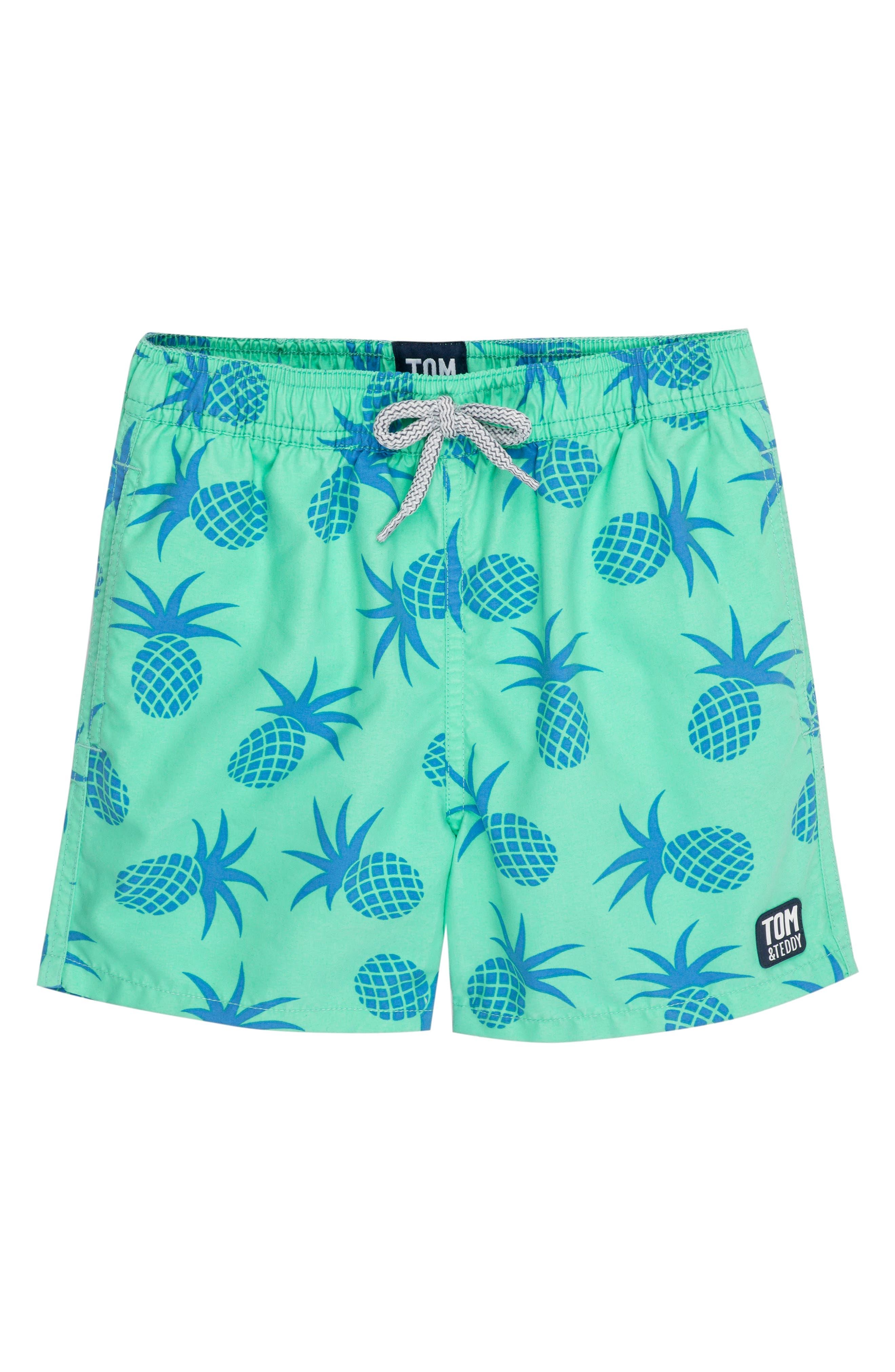 Pineapple Swim Trunks,                         Main,                         color, JADE GREEN
